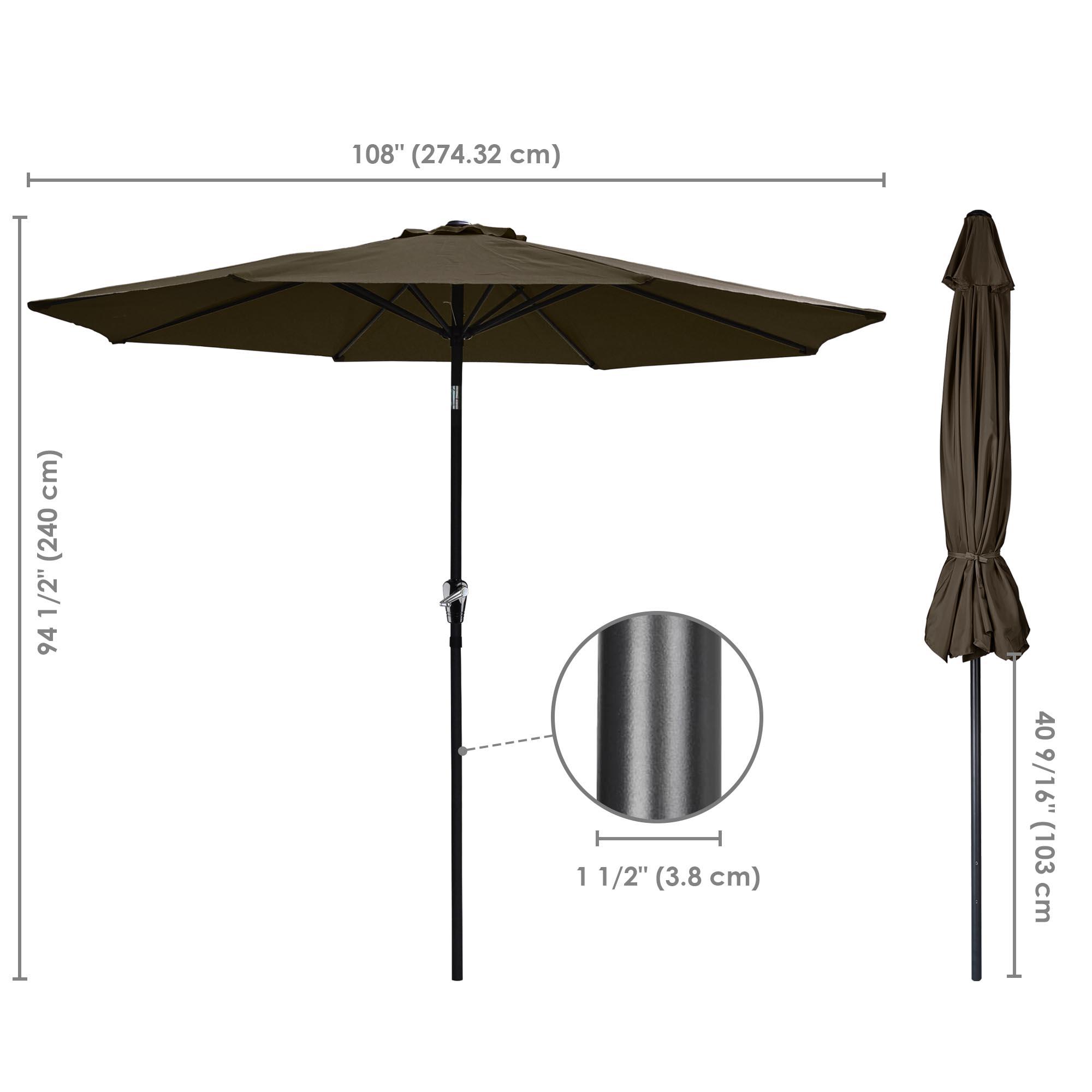 thumbnail 66 - 9' Outdoor Umbrella Patio 8 Ribs Market Garden Crank Tilt Beach Sunshade Parasol