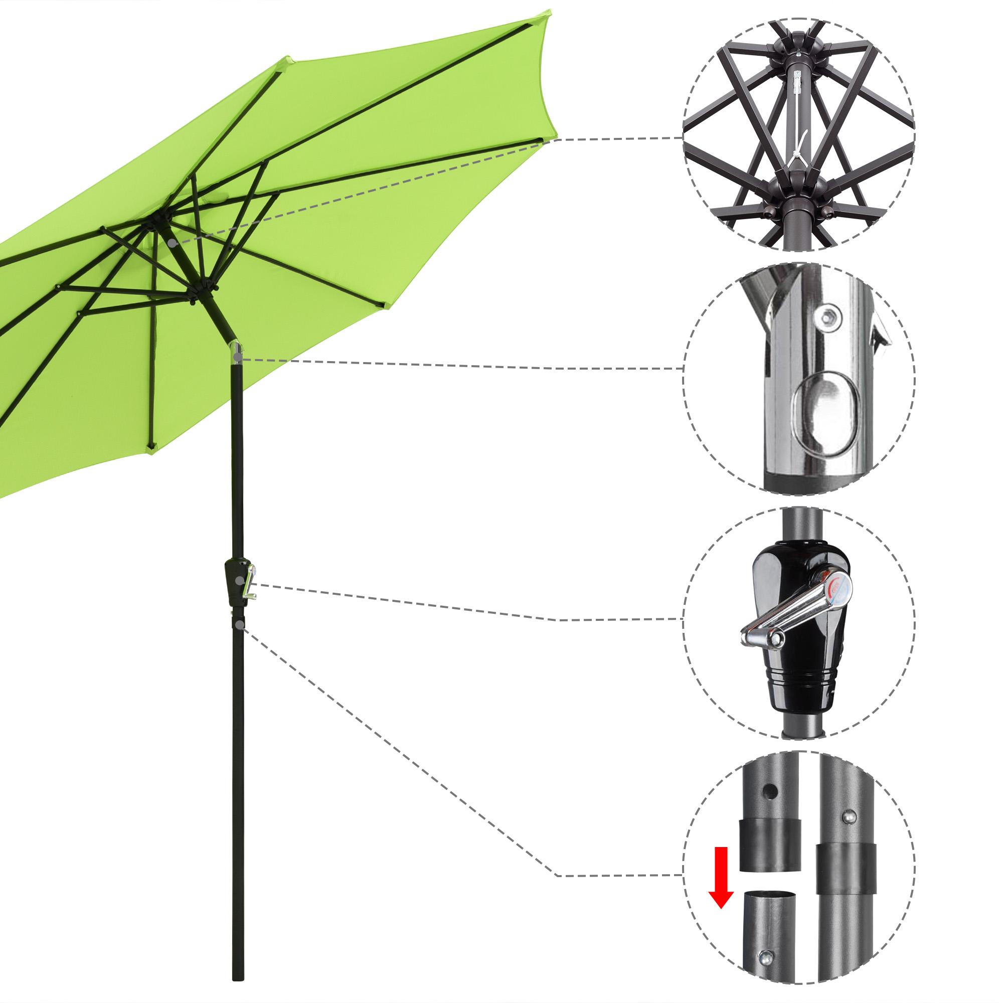 thumbnail 16 - 9' Outdoor Umbrella Patio 8 Ribs Market Garden Crank Tilt Beach Sunshade Parasol
