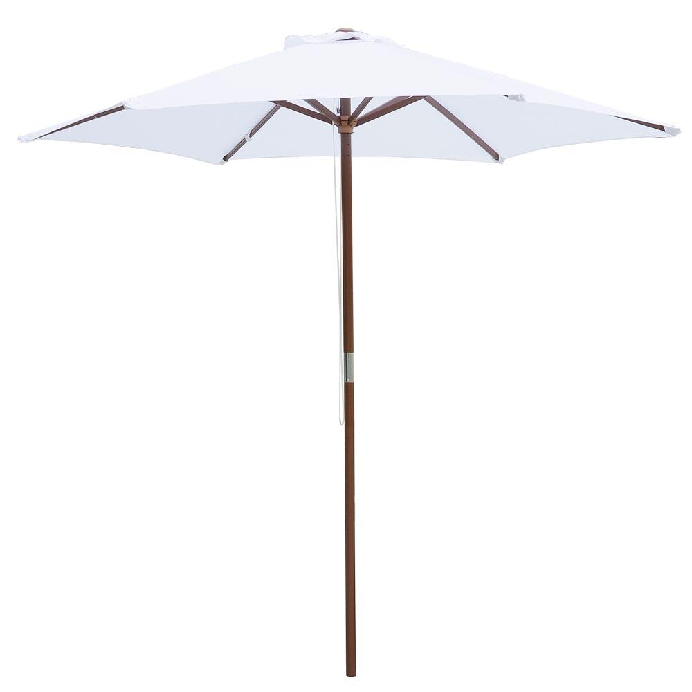 8FT 6 Ribs Patio Wood Umbrella Wooden Pole