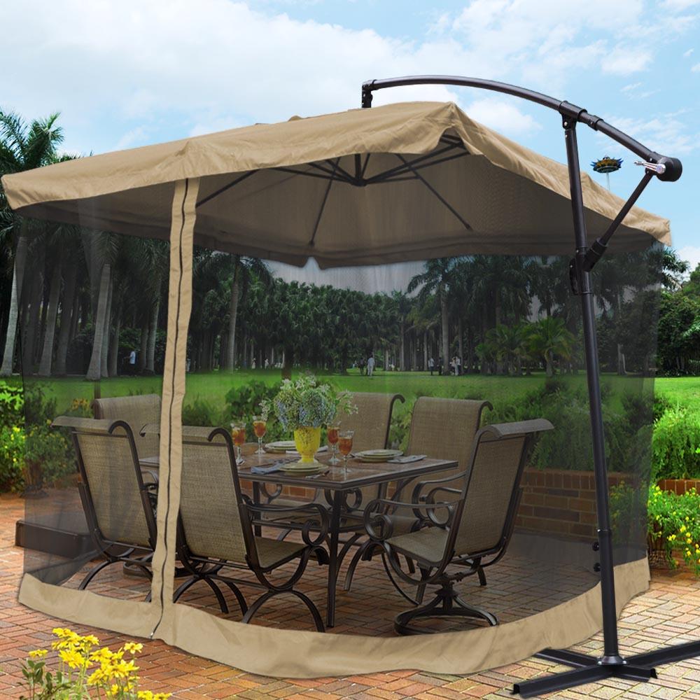 9x9 Square Aluminum Offset Umbrella Patio Outdoor Shade W