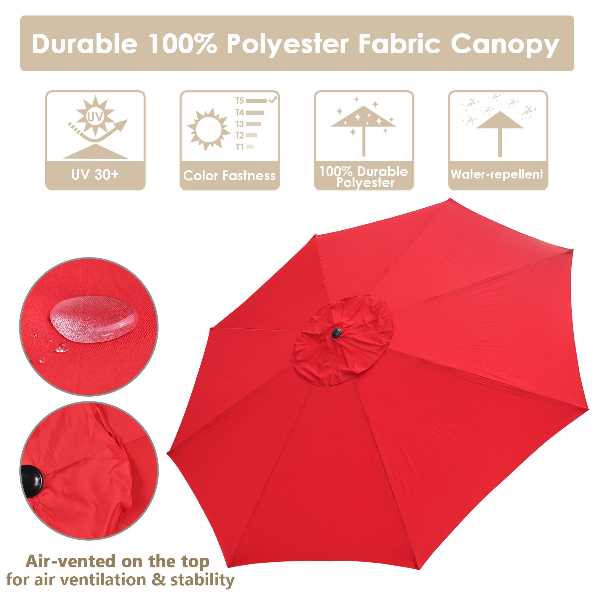 thumbnail 51 - 13' FT Sun Shade Patio Aluminum Umbrella UV30+ Outdoor Market Garden Beach Deck