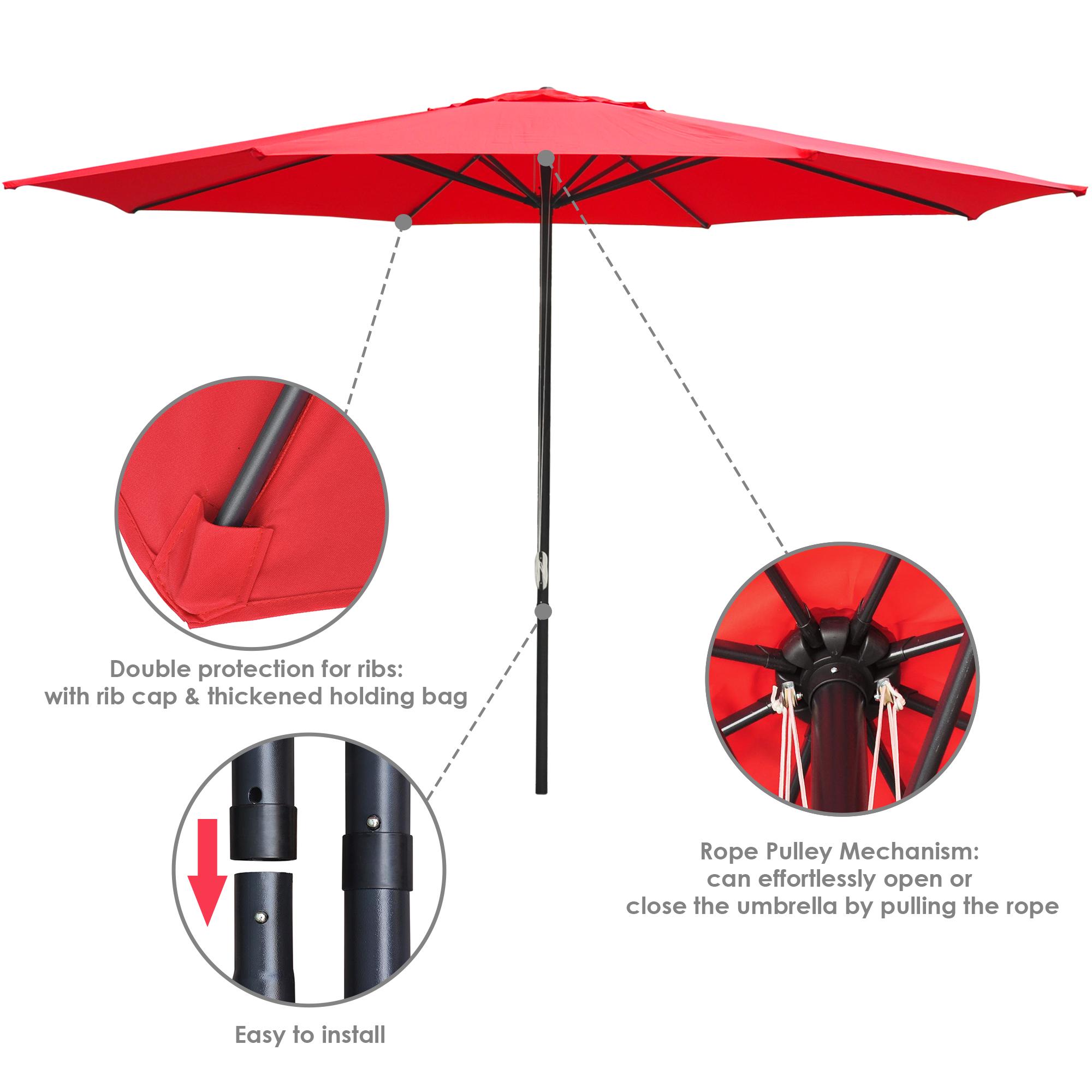 thumbnail 53 - 13' FT Sun Shade Patio Aluminum Umbrella UV30+ Outdoor Market Garden Beach Deck