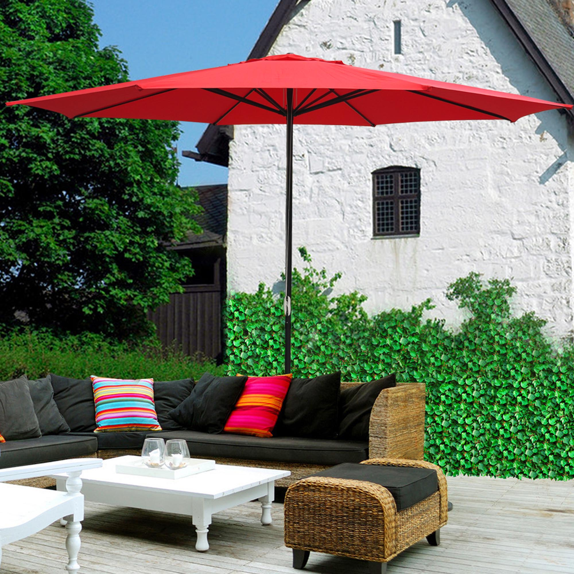 thumbnail 48 - 13' FT Sun Shade Patio Aluminum Umbrella UV30+ Outdoor Market Garden Beach Deck