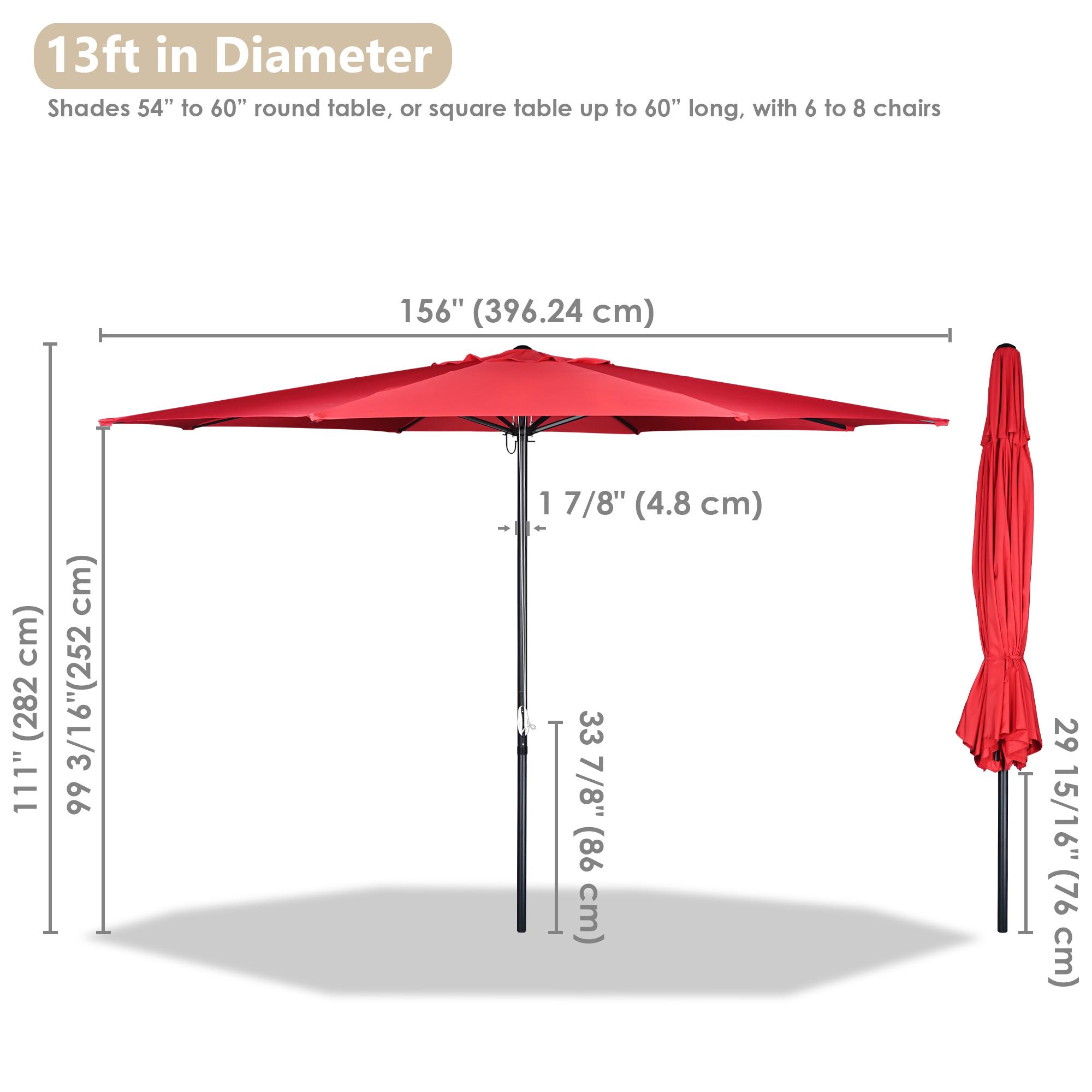 thumbnail 55 - 13' FT Sun Shade Patio Aluminum Umbrella UV30+ Outdoor Market Garden Beach Deck