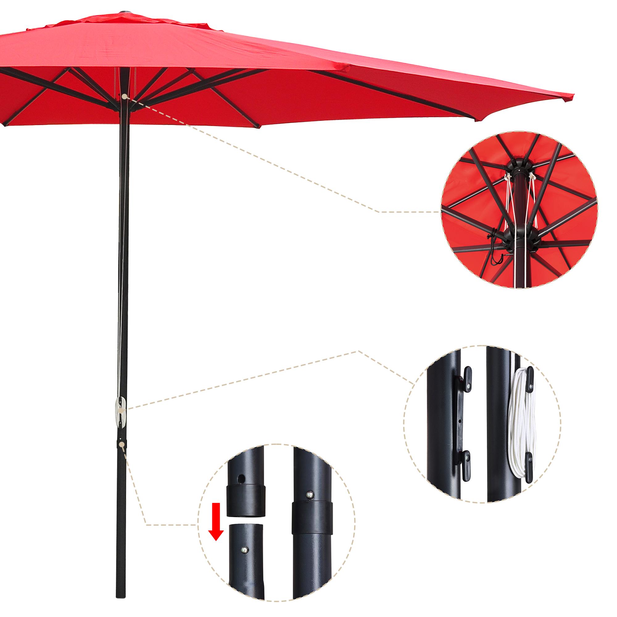 thumbnail 56 - 13' FT Sun Shade Patio Aluminum Umbrella UV30+ Outdoor Market Garden Beach Deck