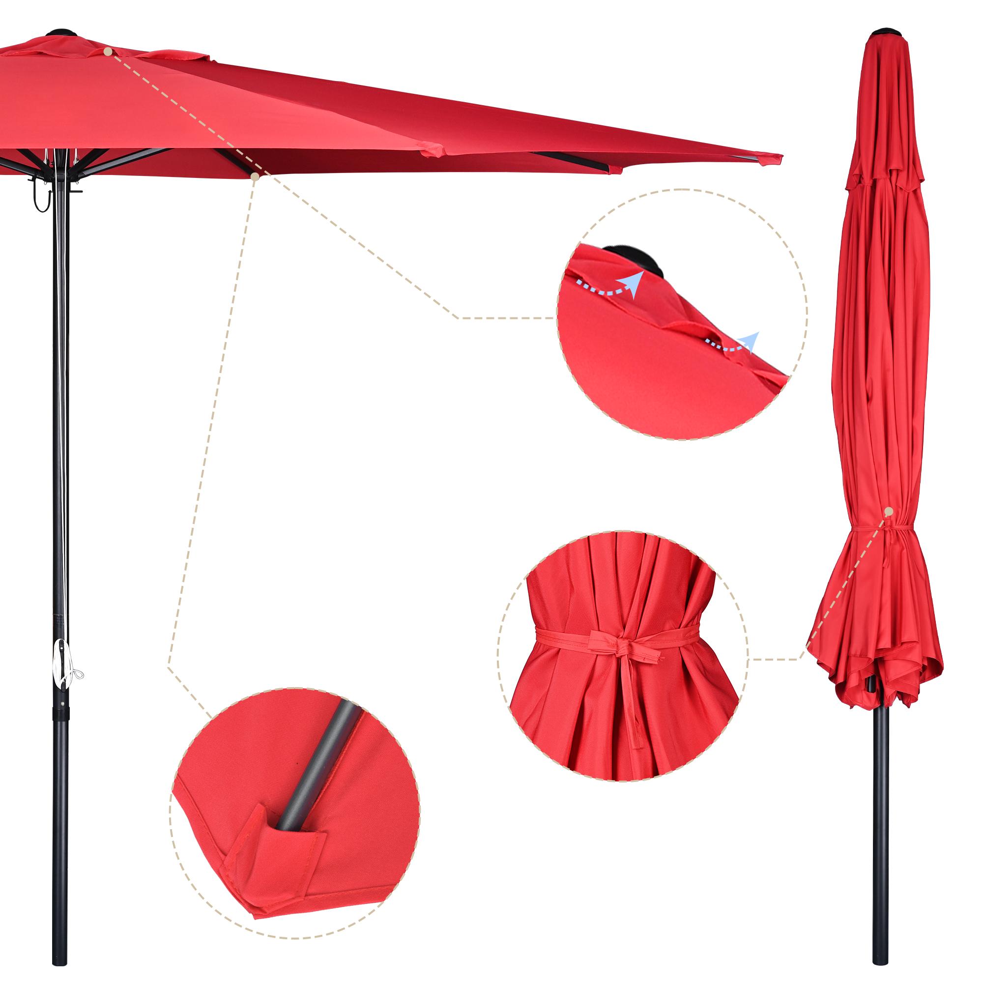 thumbnail 58 - 13' FT Sun Shade Patio Aluminum Umbrella UV30+ Outdoor Market Garden Beach Deck