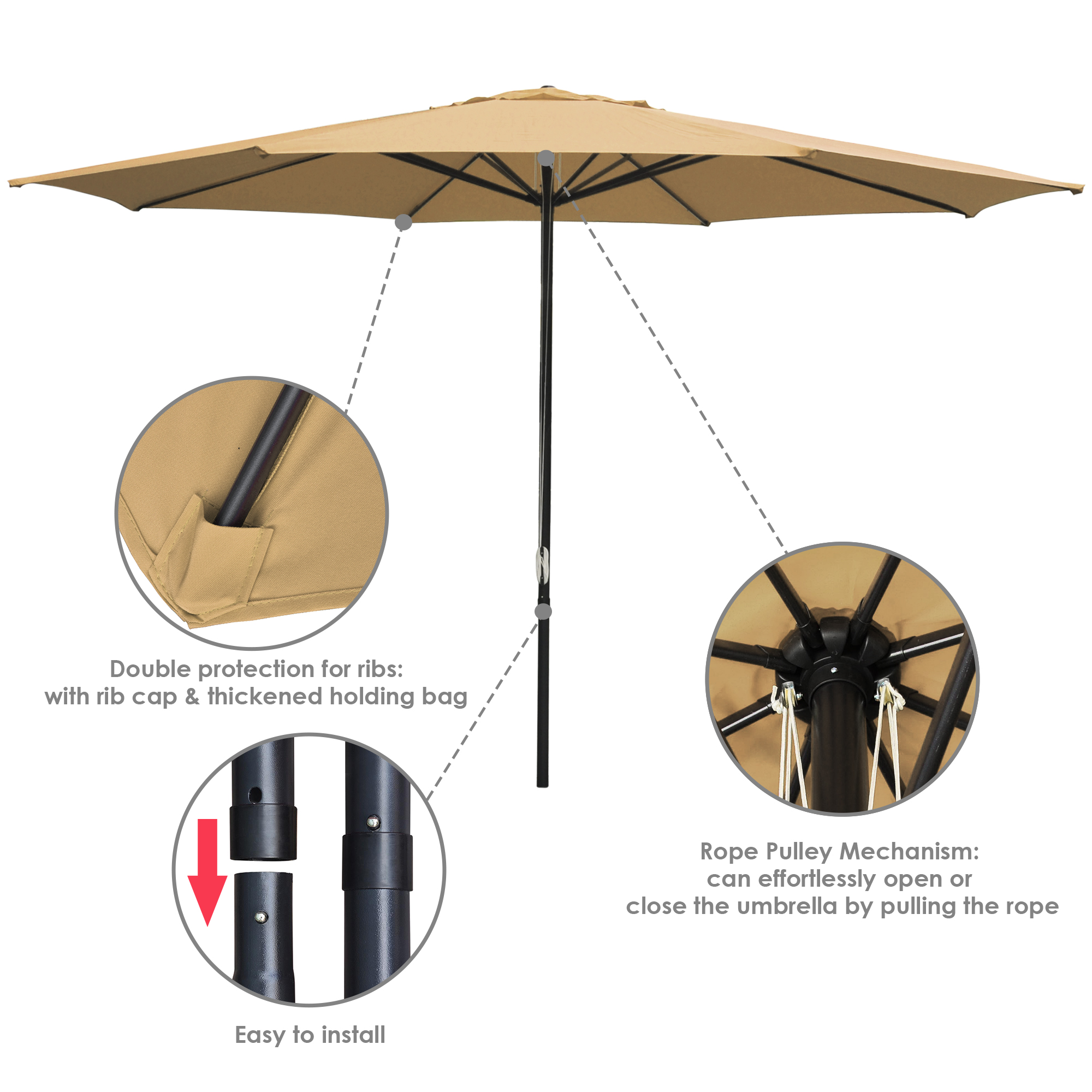 thumbnail 67 - 13' FT Sun Shade Patio Aluminum Umbrella UV30+ Outdoor Market Garden Beach Deck