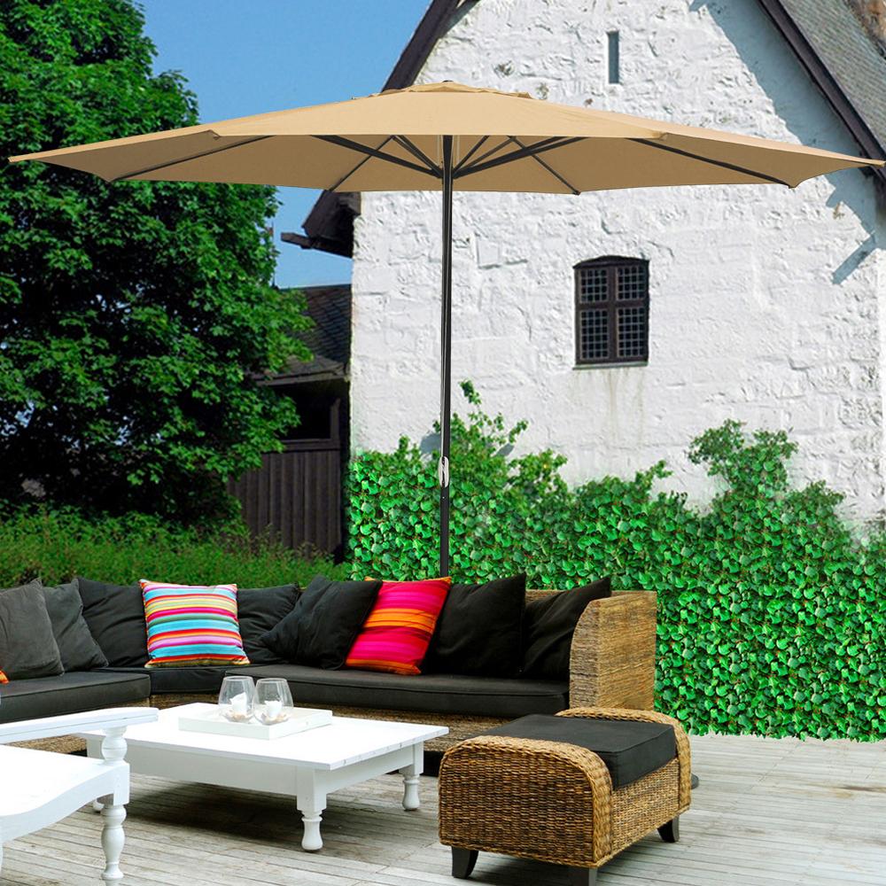 thumbnail 60 - 13' FT Sun Shade Patio Aluminum Umbrella UV30+ Outdoor Market Garden Beach Deck