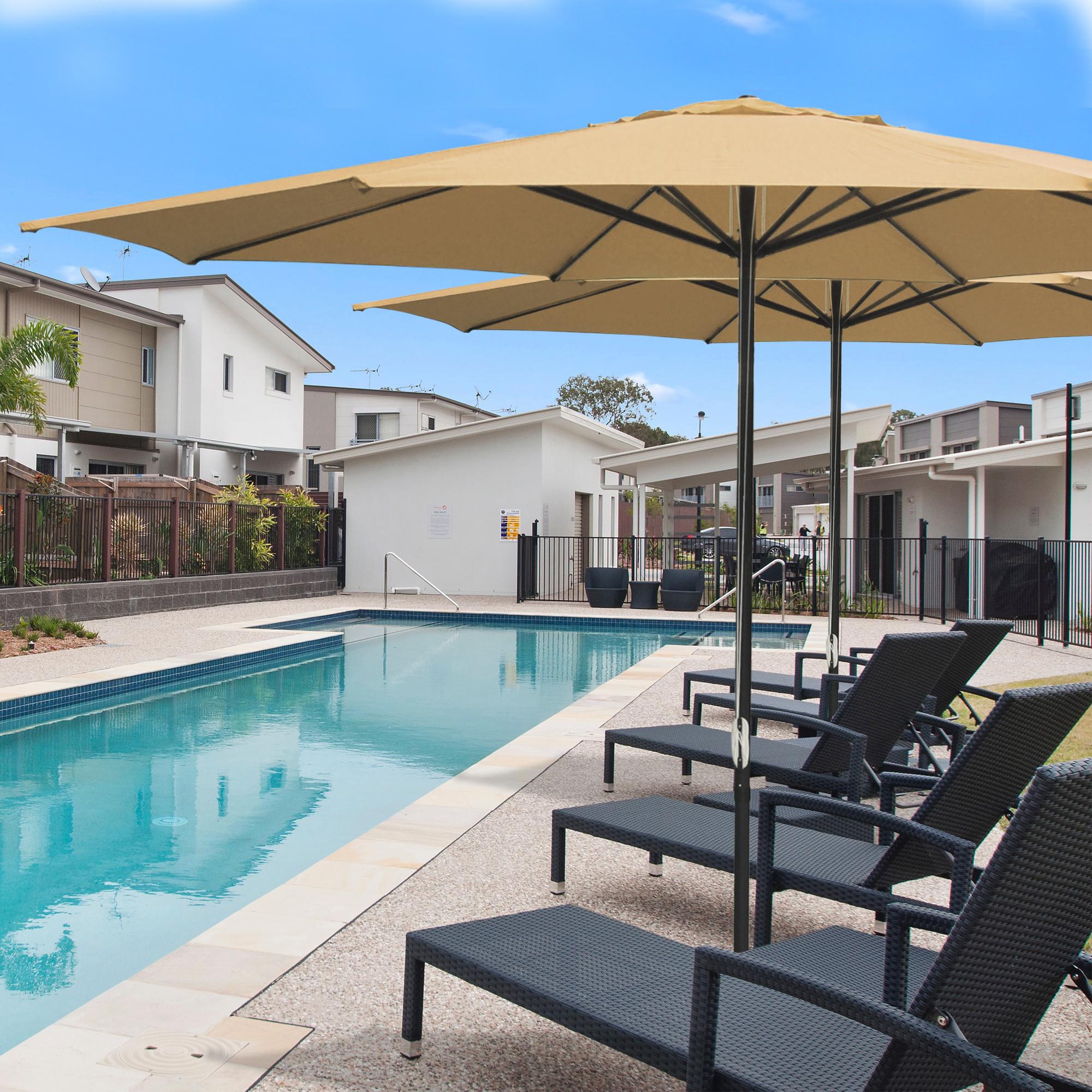 thumbnail 61 - 13' FT Sun Shade Patio Aluminum Umbrella UV30+ Outdoor Market Garden Beach Deck