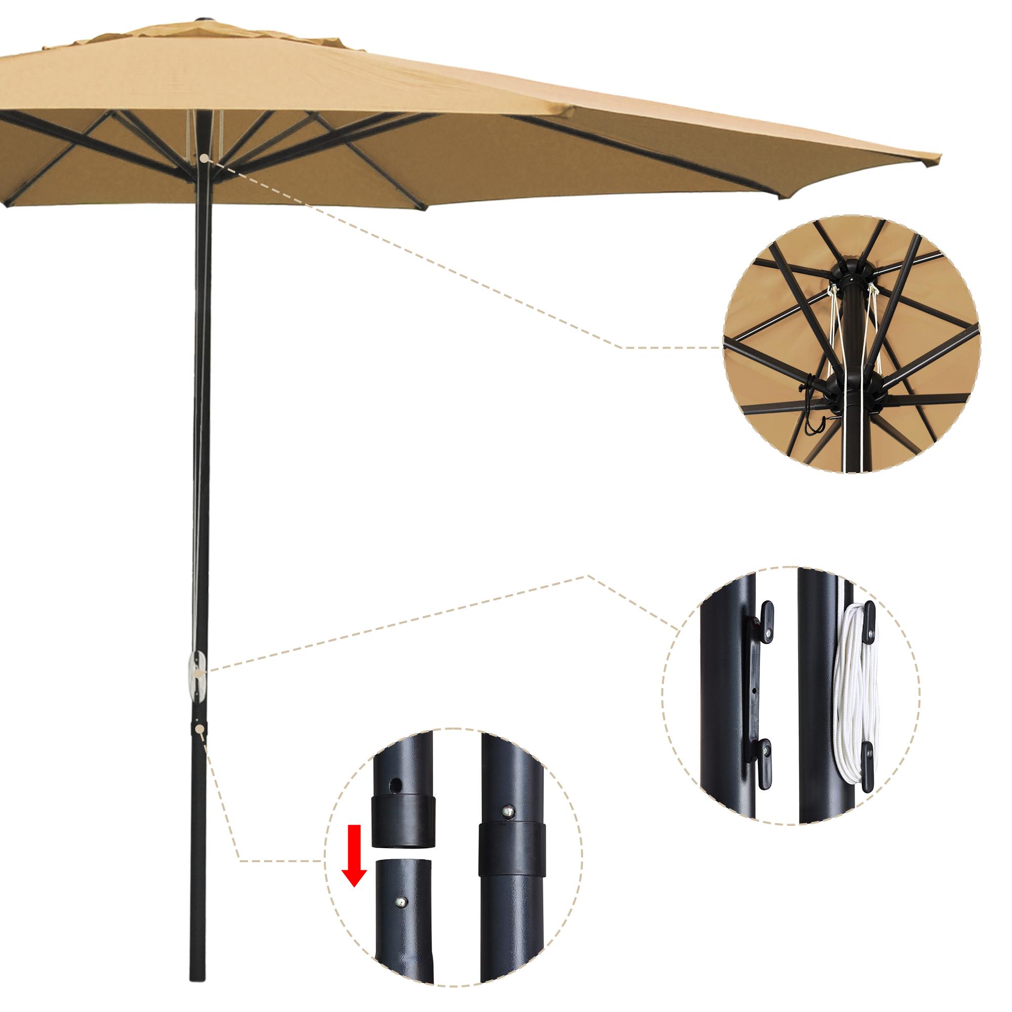 thumbnail 68 - 13' FT Sun Shade Patio Aluminum Umbrella UV30+ Outdoor Market Garden Beach Deck