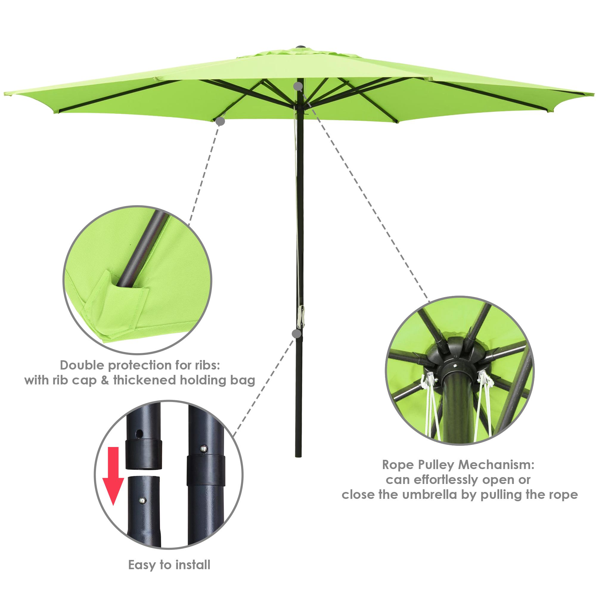 thumbnail 17 - 13' FT Sun Shade Patio Aluminum Umbrella UV30+ Outdoor Market Garden Beach Deck