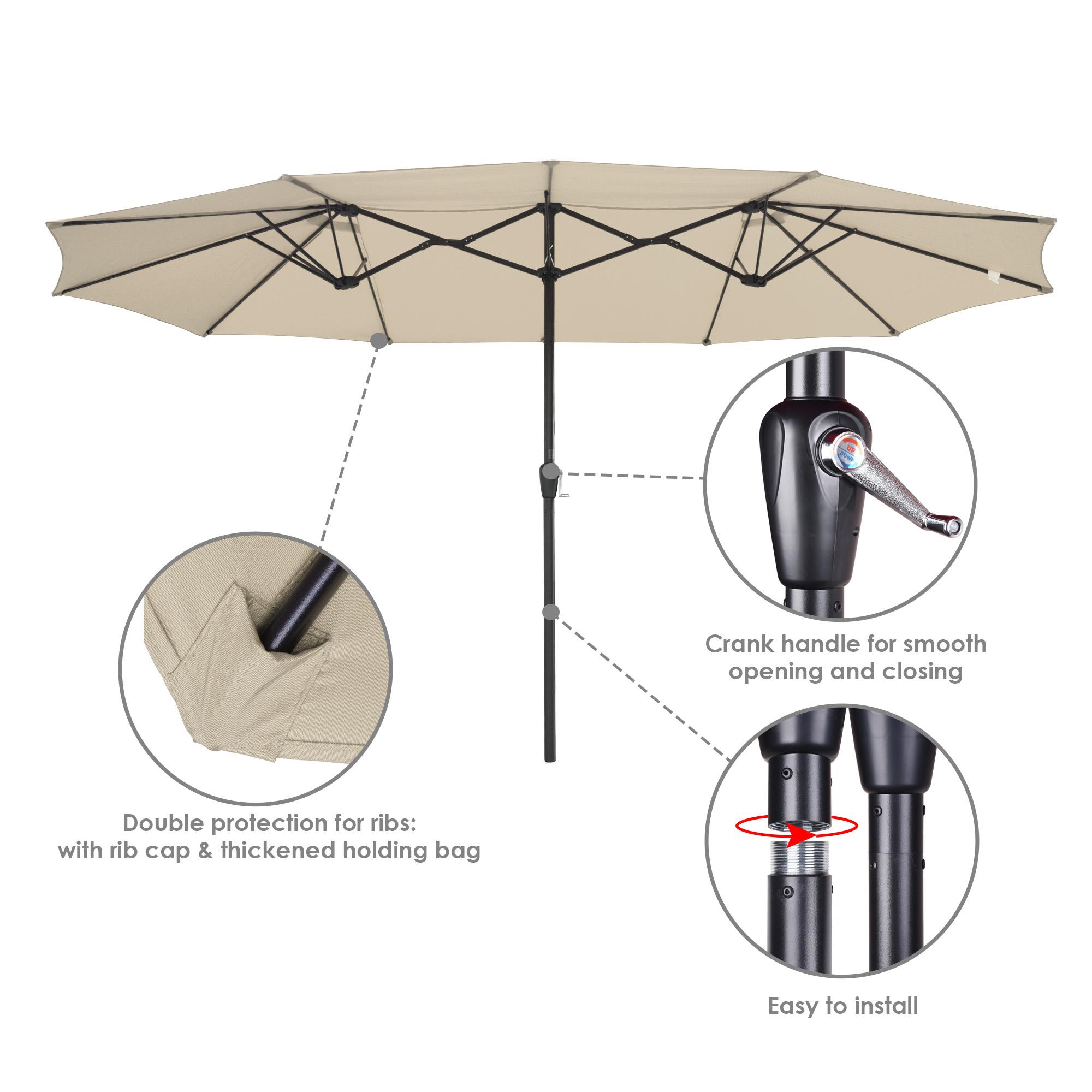 thumbnail 49 - 15ft Patio Twin Umbrella Double-sided Market Crank Outdoor Garden Parasol Shade