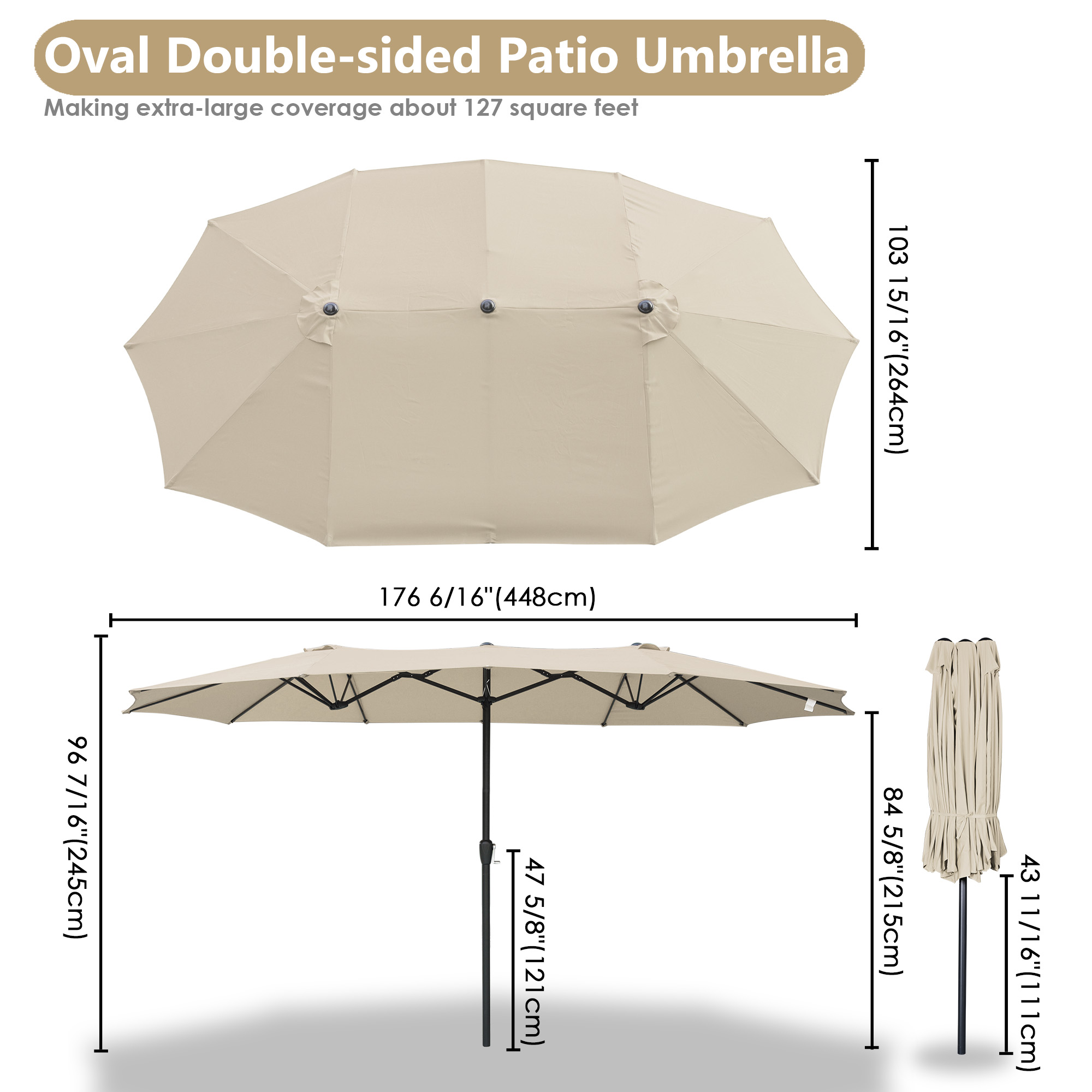 thumbnail 51 - 15ft Patio Twin Umbrella Double-sided Market Crank Outdoor Garden Parasol Shade