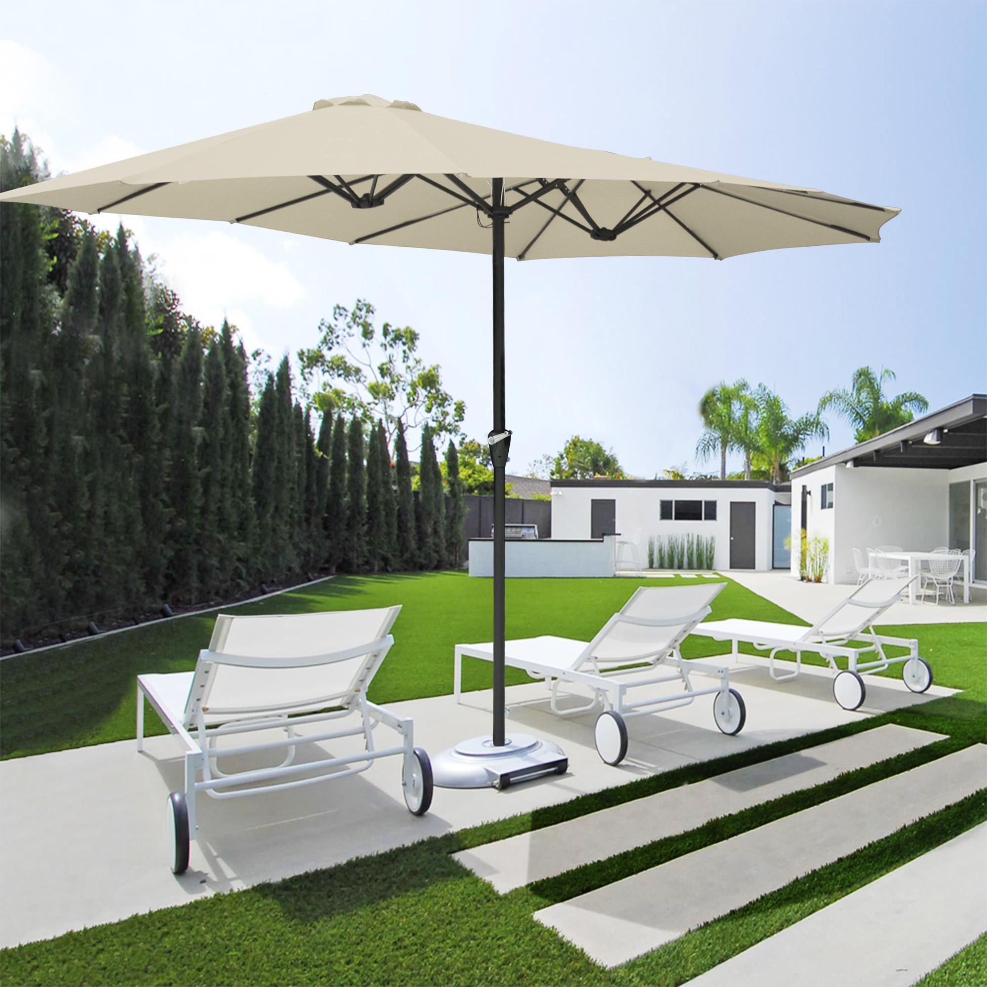 thumbnail 53 - 15ft Patio Twin Umbrella Double-sided Market Crank Outdoor Garden Parasol Shade