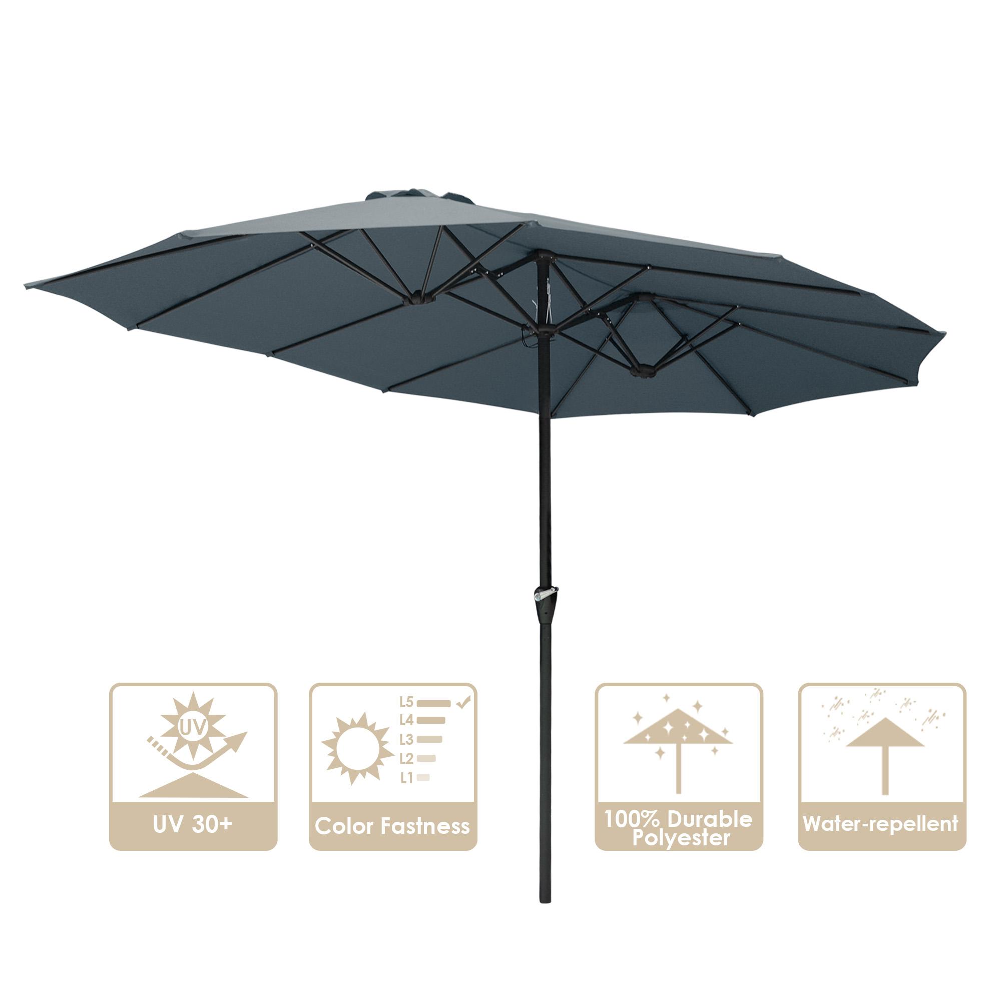 thumbnail 28 - 15ft Patio Twin Umbrella Double-sided Market Crank Outdoor Garden Parasol Shade