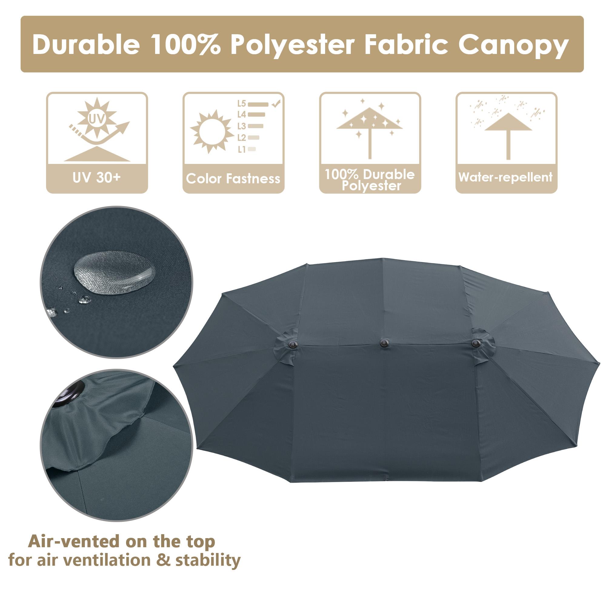 thumbnail 29 - 15ft Patio Twin Umbrella Double-sided Market Crank Outdoor Garden Parasol Shade