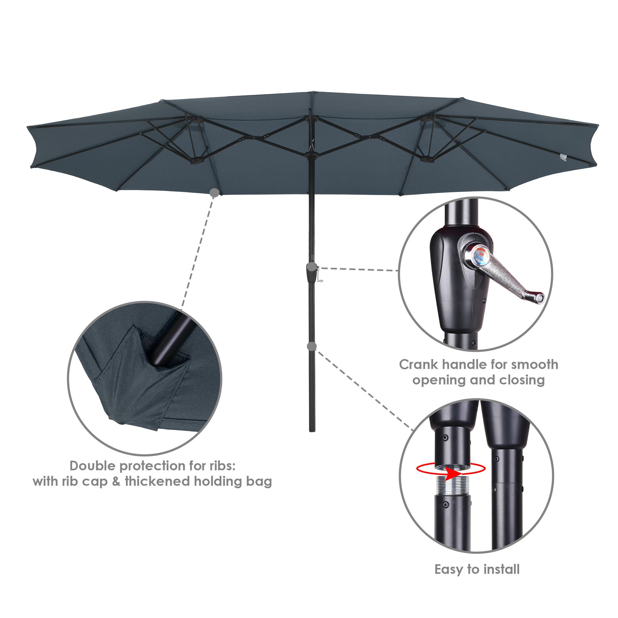 thumbnail 30 - 15ft Patio Twin Umbrella Double-sided Market Crank Outdoor Garden Parasol Shade