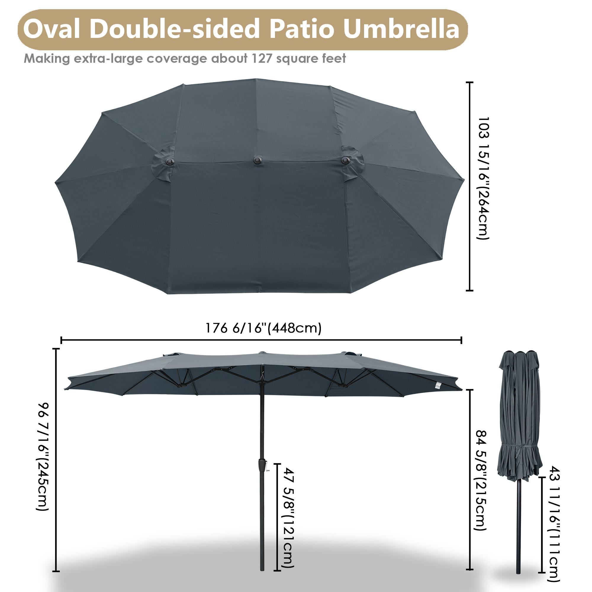 thumbnail 32 - 15ft Patio Twin Umbrella Double-sided Market Crank Outdoor Garden Parasol Shade