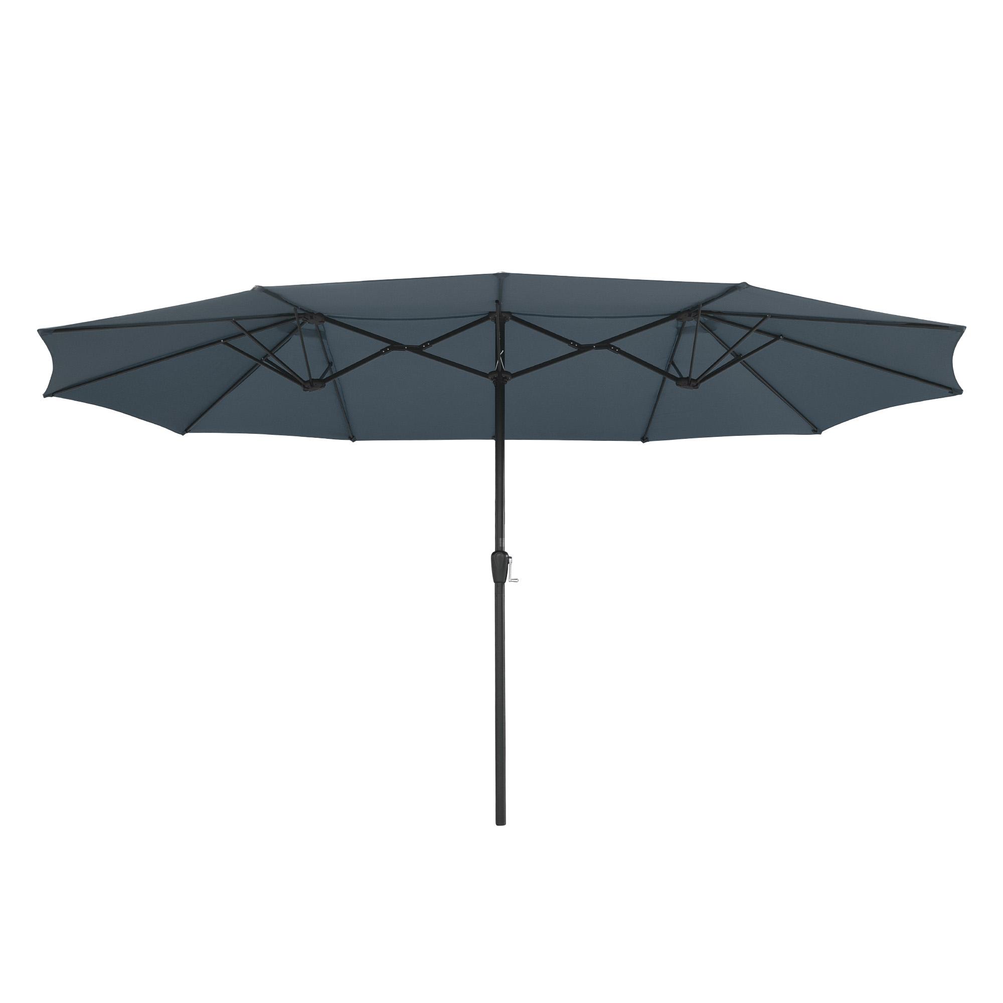 thumbnail 33 - 15ft Patio Twin Umbrella Double-sided Market Crank Outdoor Garden Parasol Shade