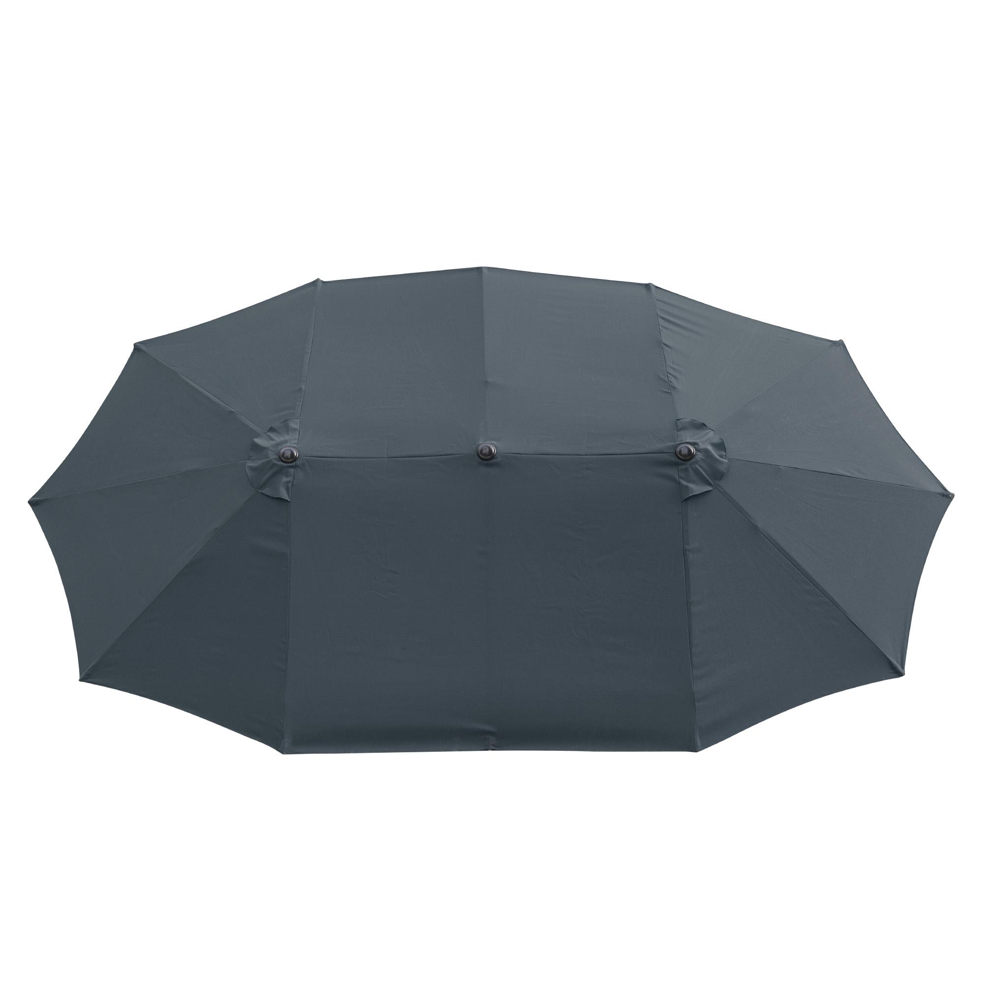 thumbnail 34 - 15ft Patio Twin Umbrella Double-sided Market Crank Outdoor Garden Parasol Shade