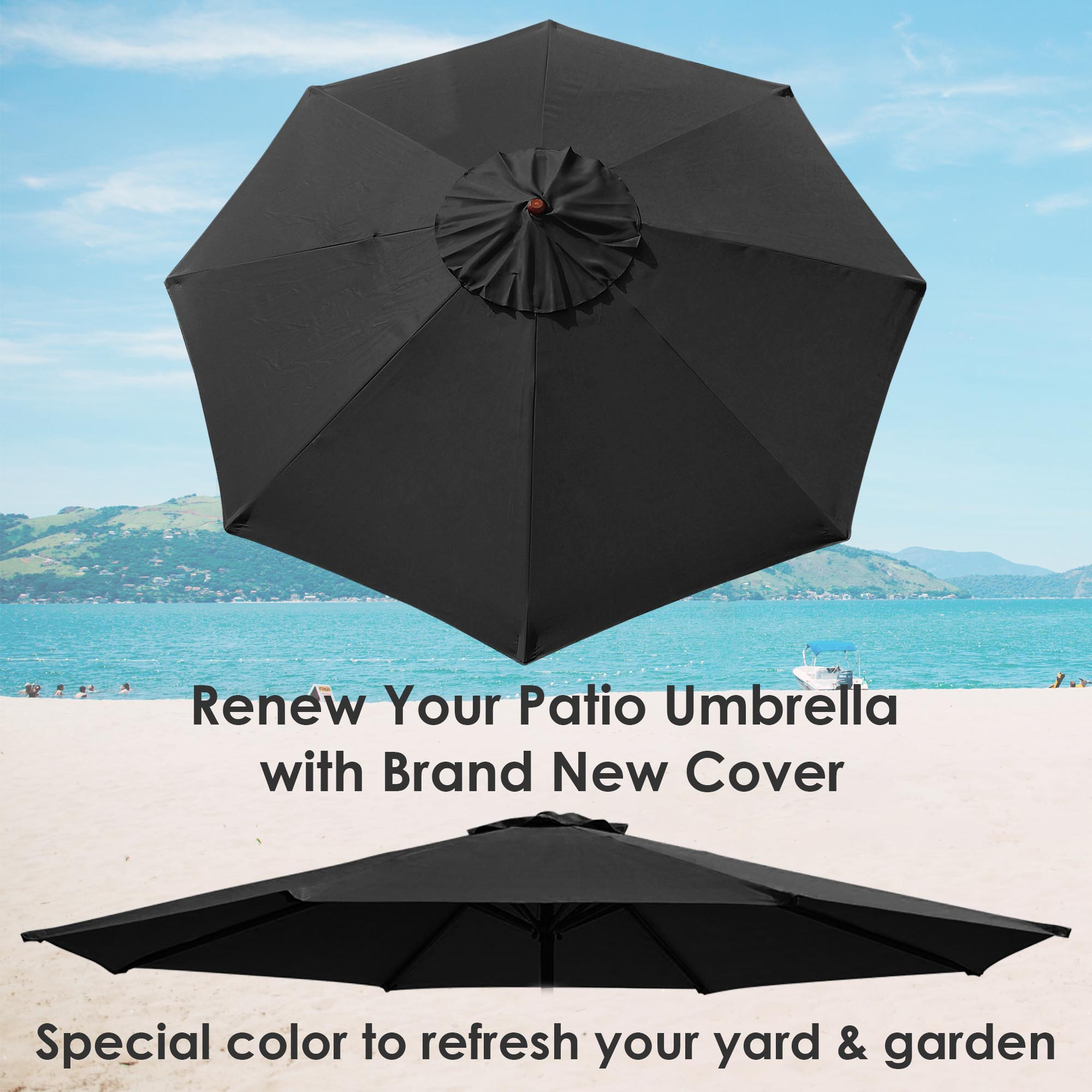 thumbnail 17 - 8'/9'/10'/13' Umbrella Replacement Canopy 8 Rib Outdoor Patio Top Cover Only Opt