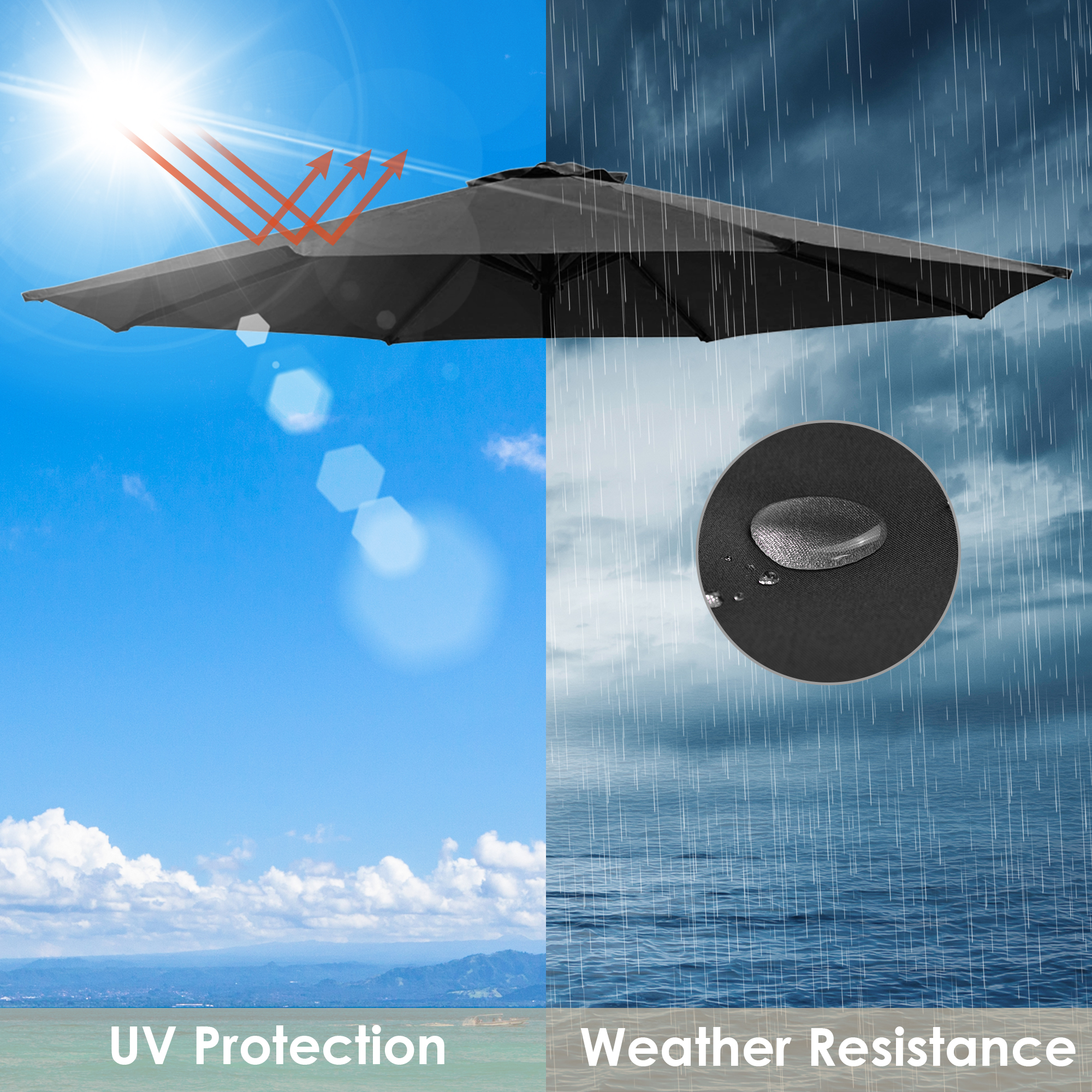 thumbnail 18 - 8'/9'/10'/13' Umbrella Replacement Canopy 8 Rib Outdoor Patio Top Cover Only Opt
