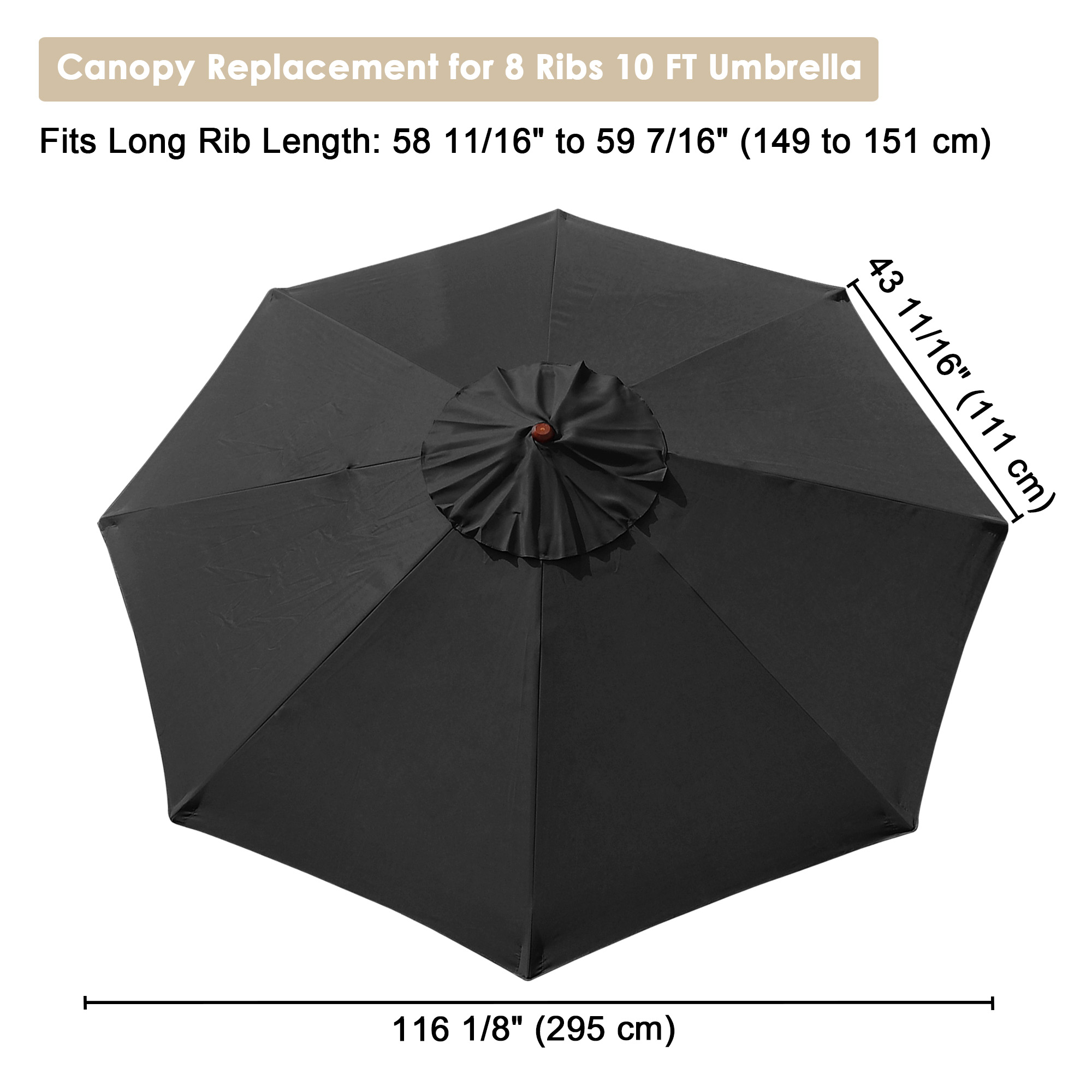 thumbnail 24 - 8'/9'/10'/13' Umbrella Replacement Canopy 8 Rib Outdoor Patio Top Cover Only Opt