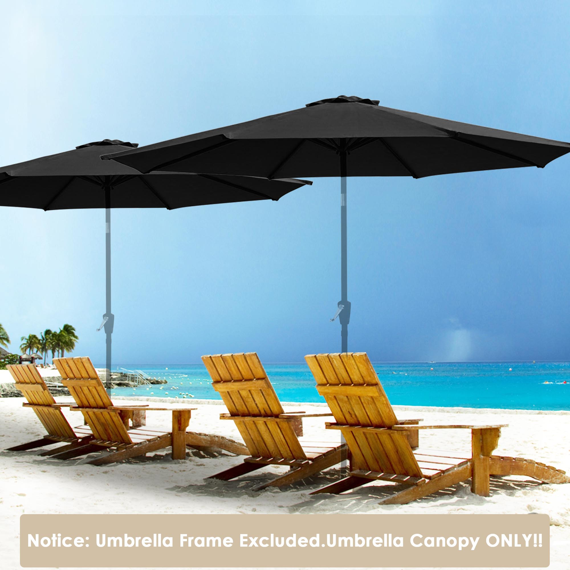 thumbnail 25 - 8'/9'/10'/13' Umbrella Replacement Canopy 8 Rib Outdoor Patio Top Cover Only Opt