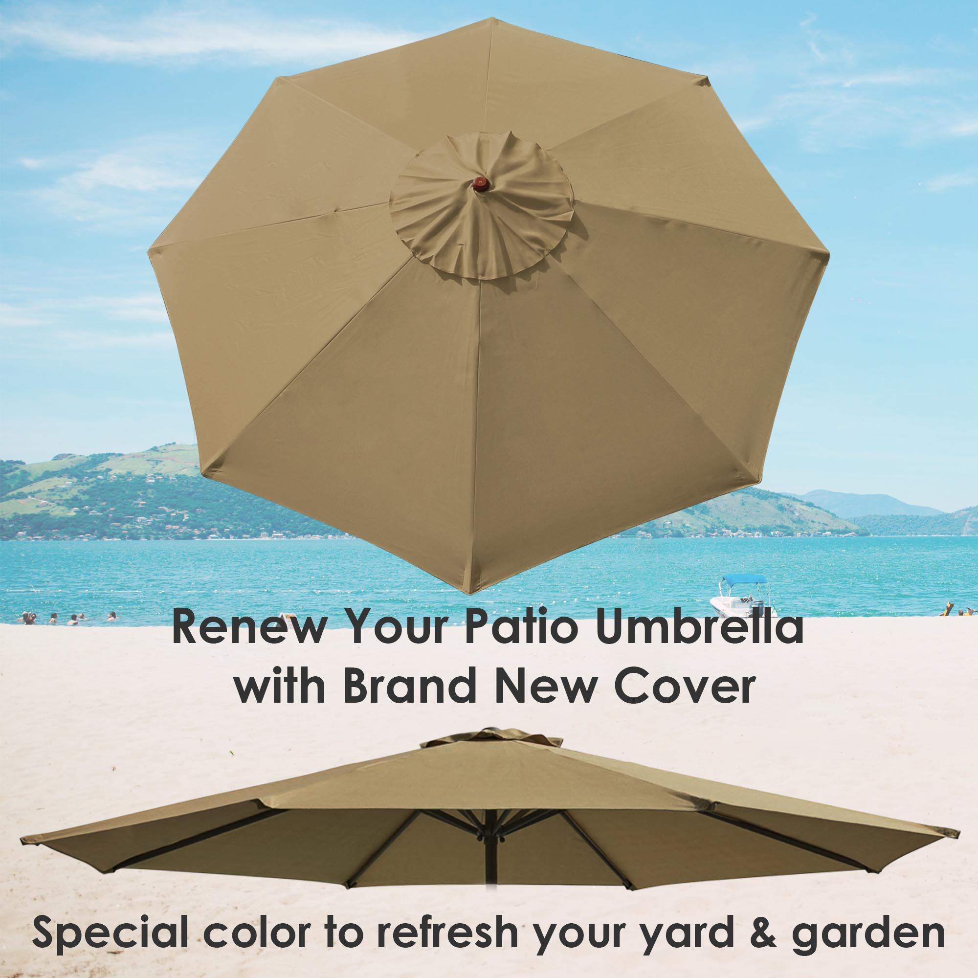thumbnail 35 - 8'/9'/10'/13' Umbrella Replacement Canopy 8 Rib Outdoor Patio Top Cover Only Opt