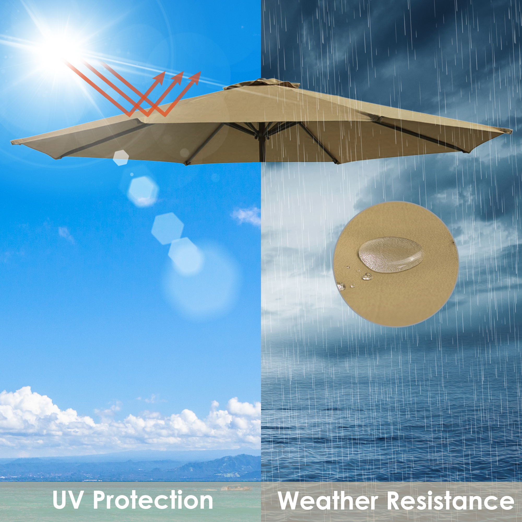 thumbnail 36 - 8'/9'/10'/13' Umbrella Replacement Canopy 8 Rib Outdoor Patio Top Cover Only Opt