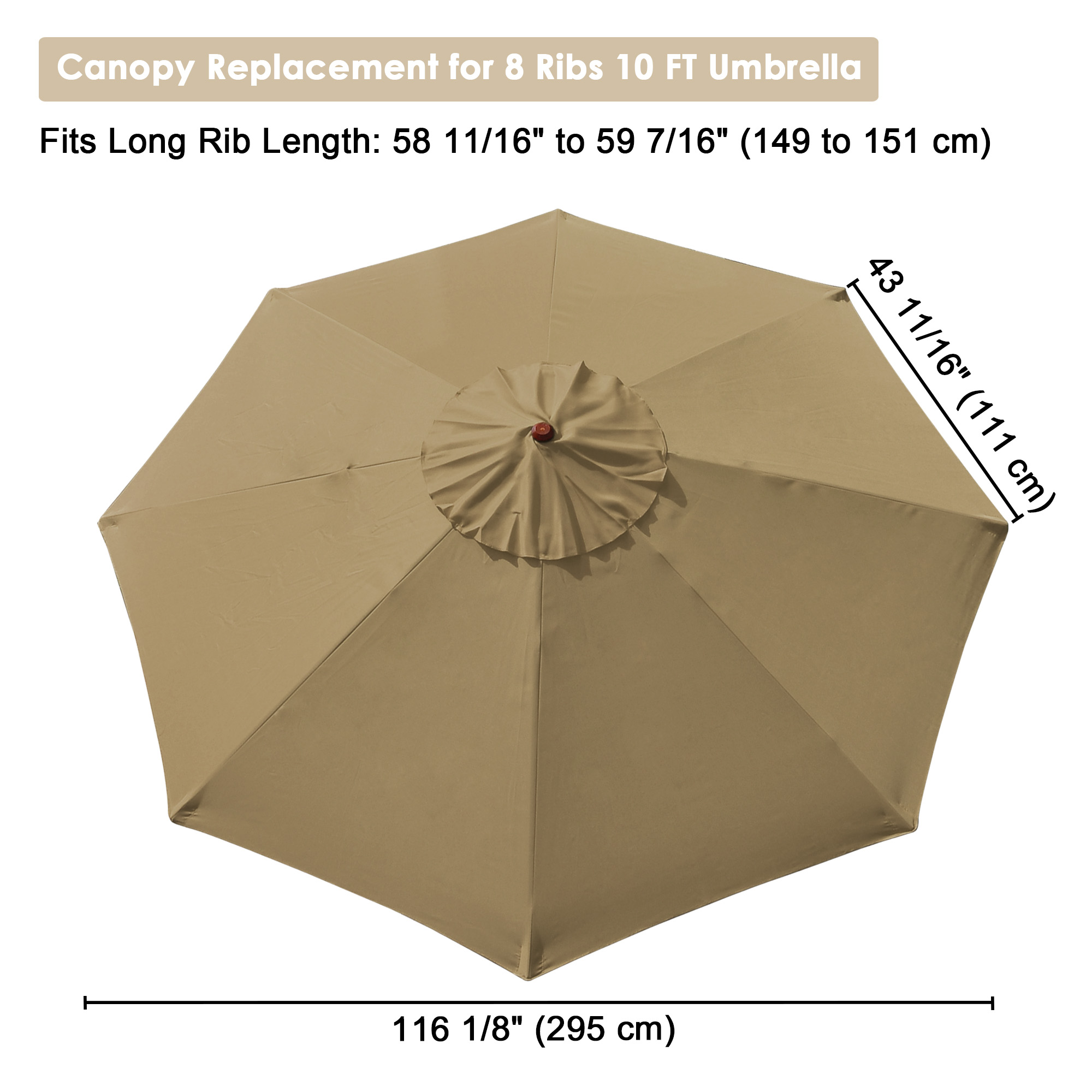 thumbnail 42 - 8'/9'/10'/13' Umbrella Replacement Canopy 8 Rib Outdoor Patio Top Cover Only Opt
