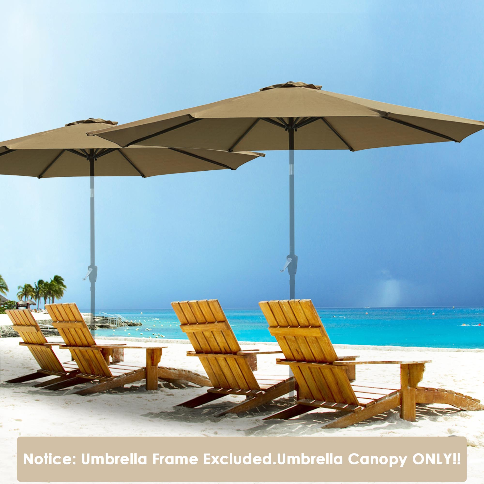 thumbnail 43 - 8'/9'/10'/13' Umbrella Replacement Canopy 8 Rib Outdoor Patio Top Cover Only Opt