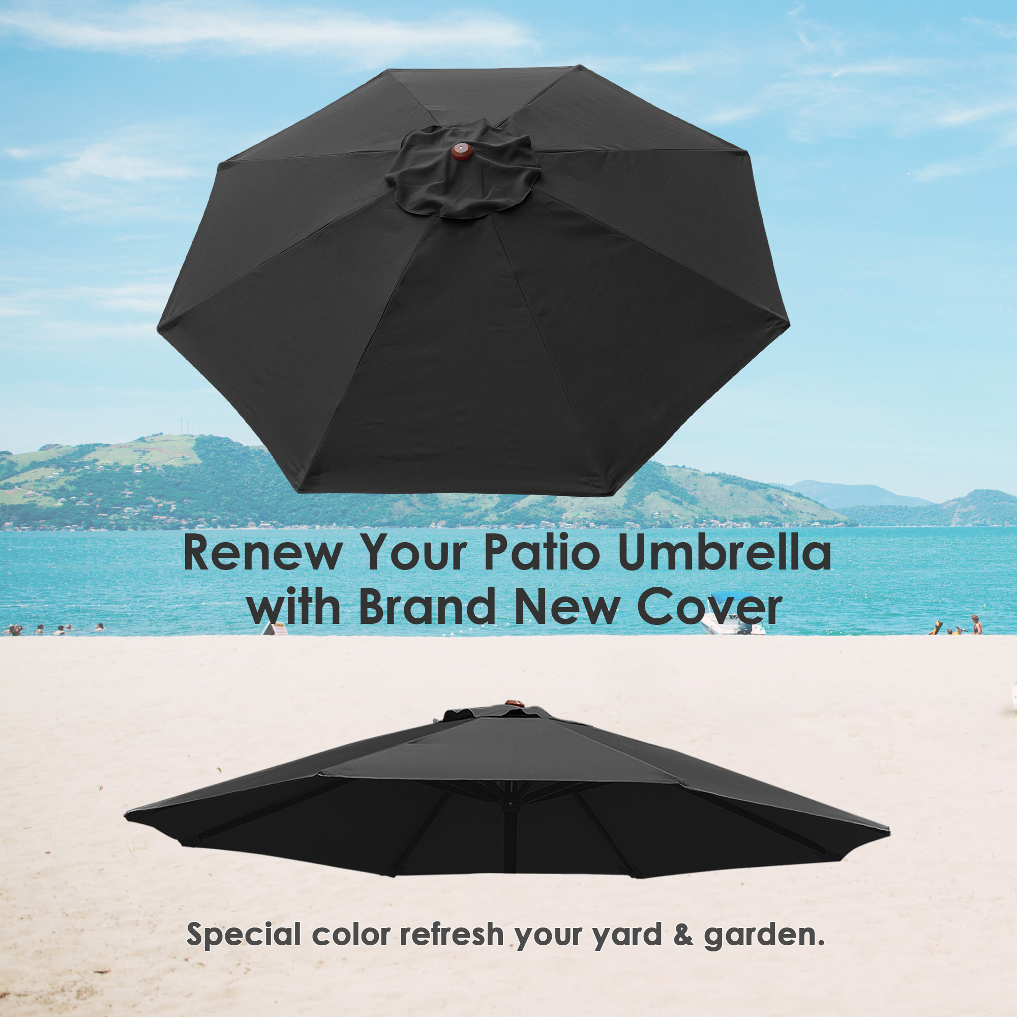 thumbnail 334 - 8'/9'/10'/13' Umbrella Replacement Canopy 8 Rib Outdoor Patio Top Cover Only Opt