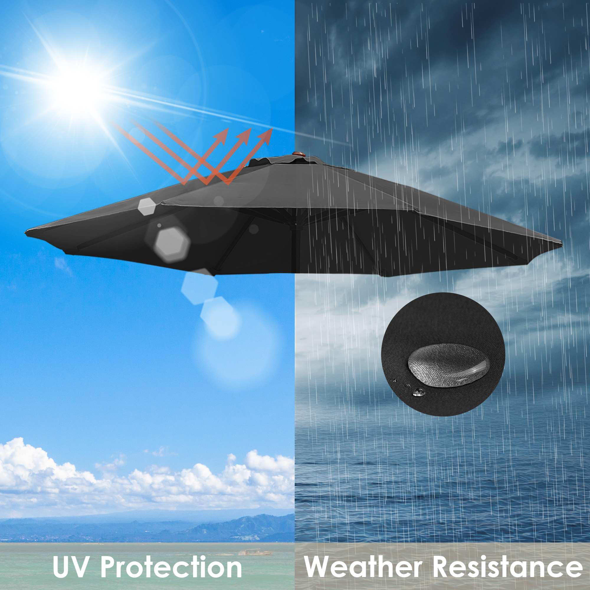 thumbnail 335 - 8'/9'/10'/13' Umbrella Replacement Canopy 8 Rib Outdoor Patio Top Cover Only Opt