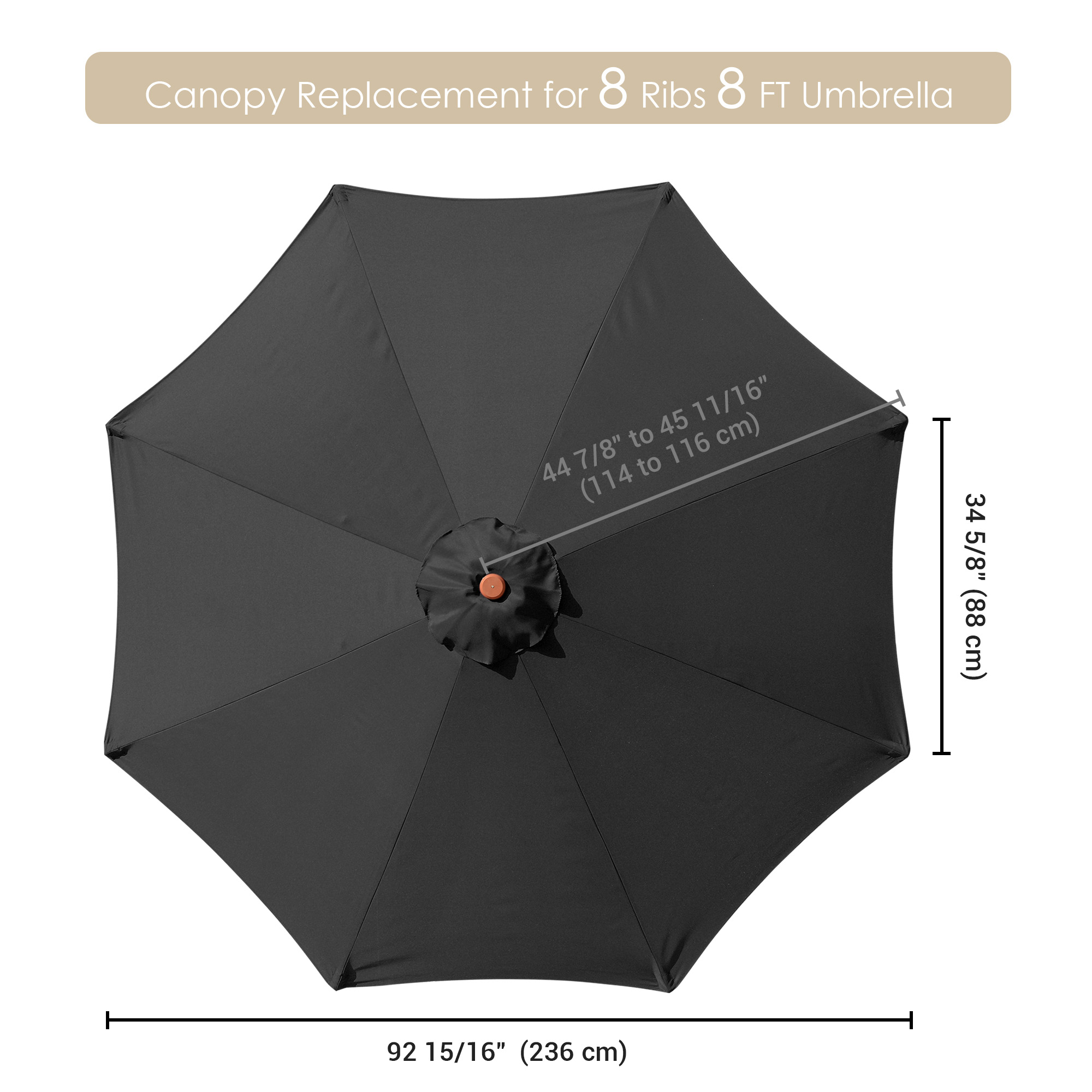 thumbnail 336 - 8'/9'/10'/13' Umbrella Replacement Canopy 8 Rib Outdoor Patio Top Cover Only Opt