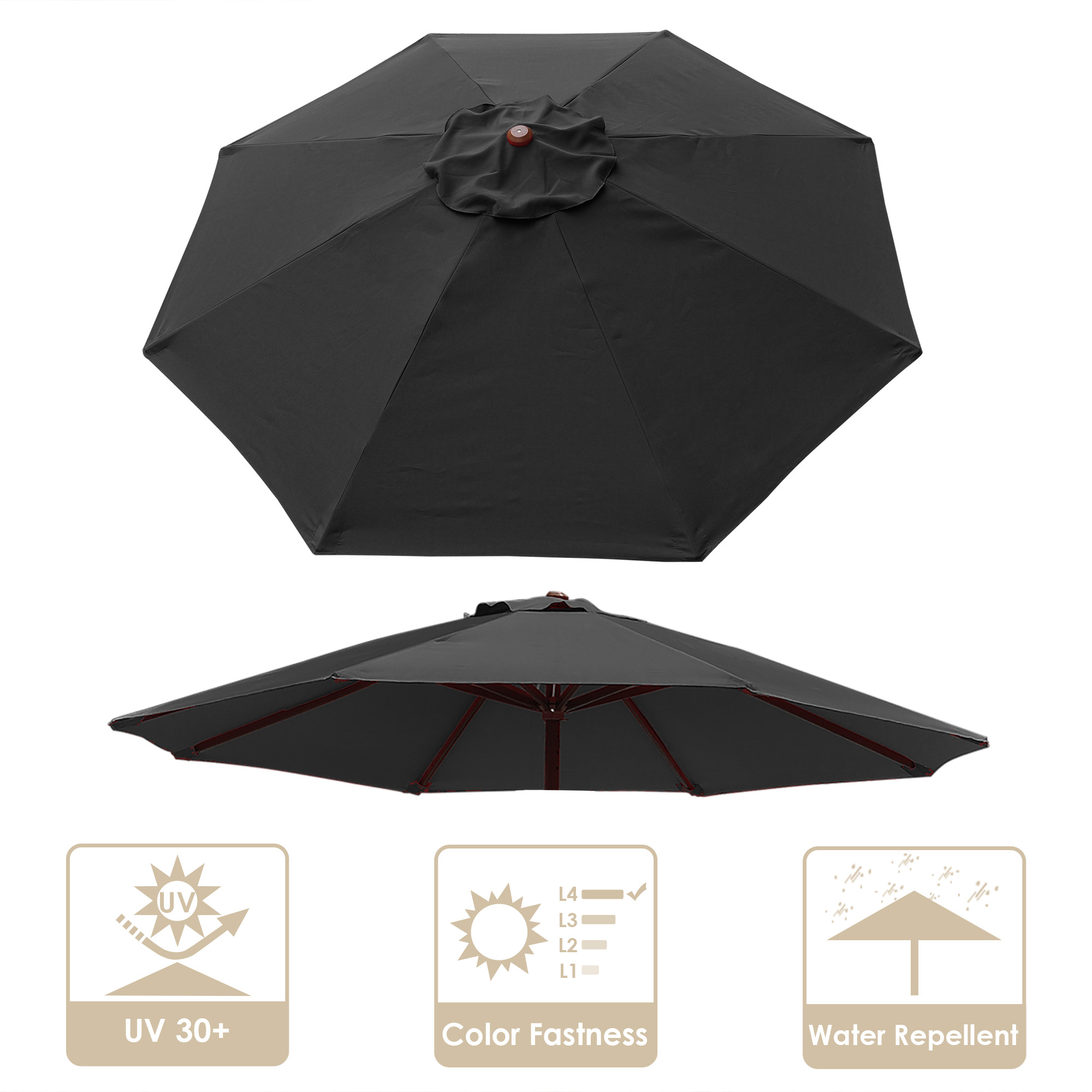 thumbnail 343 - 8'/9'/10'/13' Umbrella Replacement Canopy 8 Rib Outdoor Patio Top Cover Only Opt