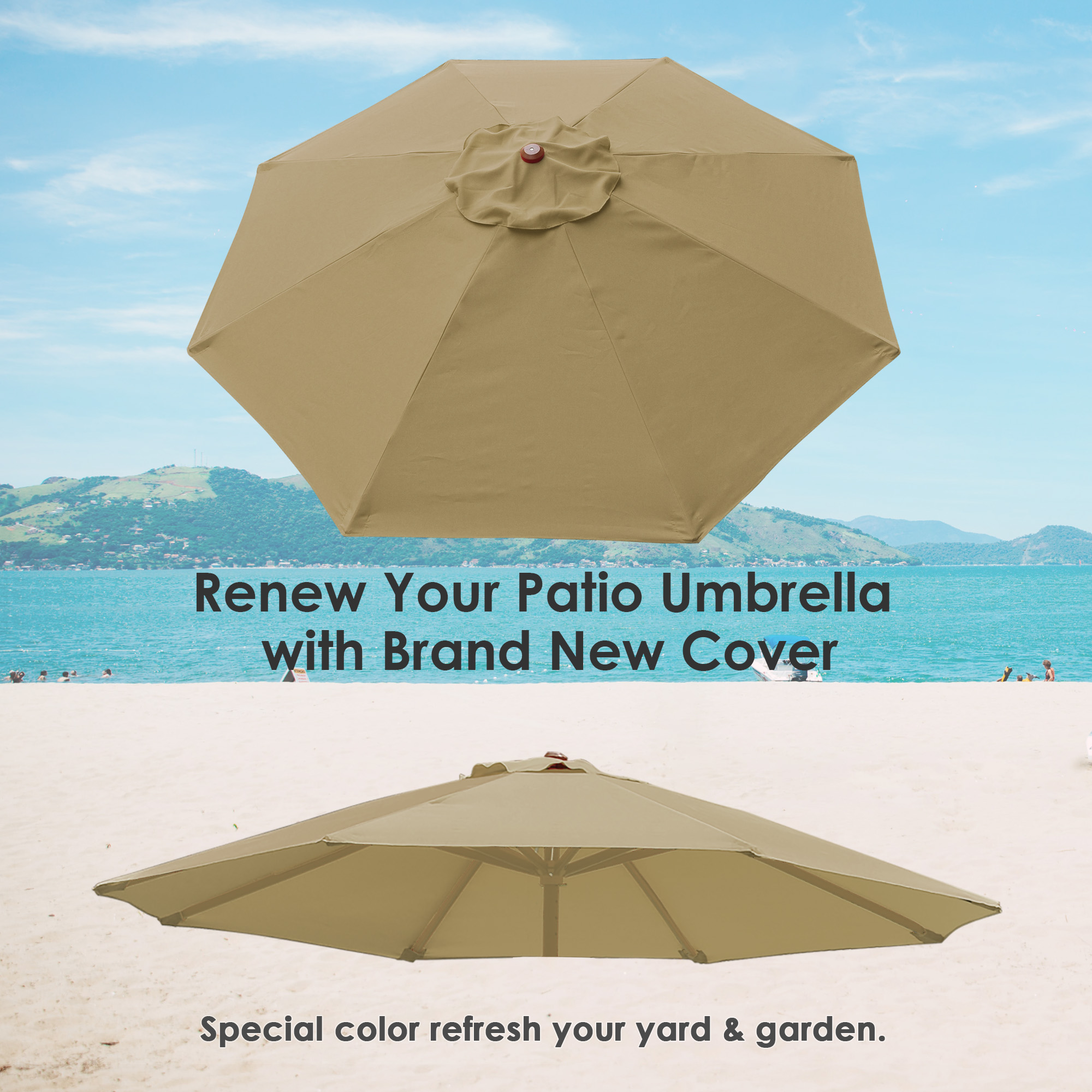 thumbnail 353 - 8'/9'/10'/13' Umbrella Replacement Canopy 8 Rib Outdoor Patio Top Cover Only Opt