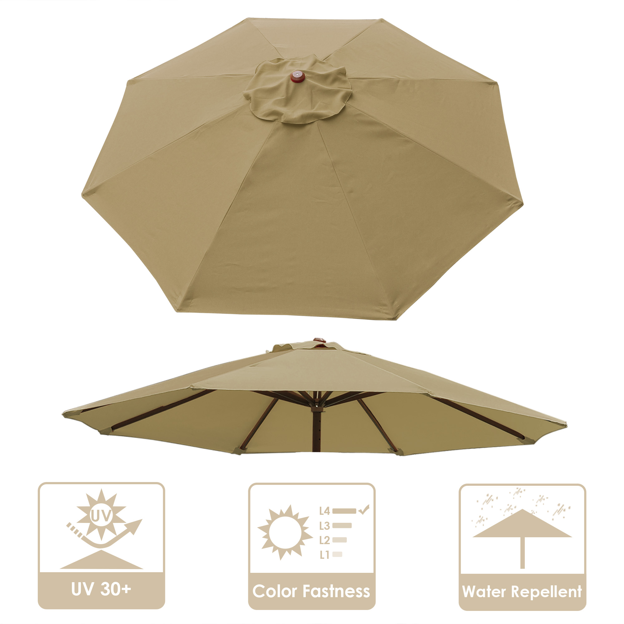 thumbnail 362 - 8'/9'/10'/13' Umbrella Replacement Canopy 8 Rib Outdoor Patio Top Cover Only Opt