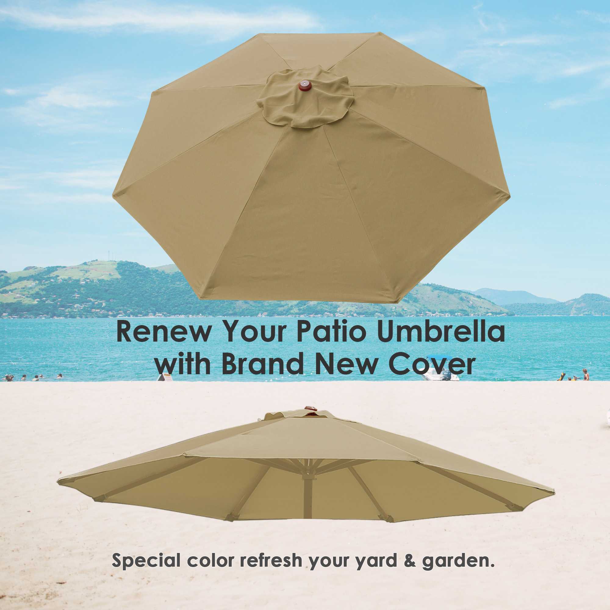thumbnail 448 - 8'/9'/10'/13' Umbrella Replacement Canopy 8 Rib Outdoor Patio Top Cover Only Opt