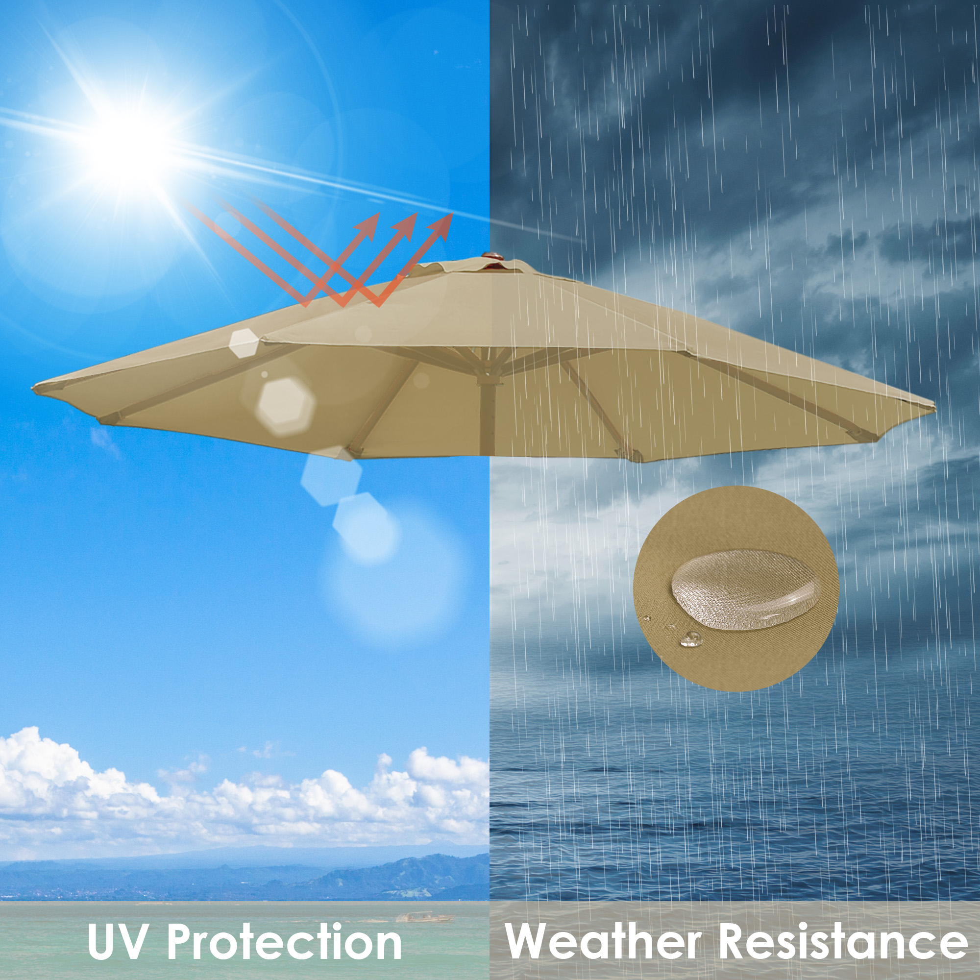 thumbnail 449 - 8'/9'/10'/13' Umbrella Replacement Canopy 8 Rib Outdoor Patio Top Cover Only Opt