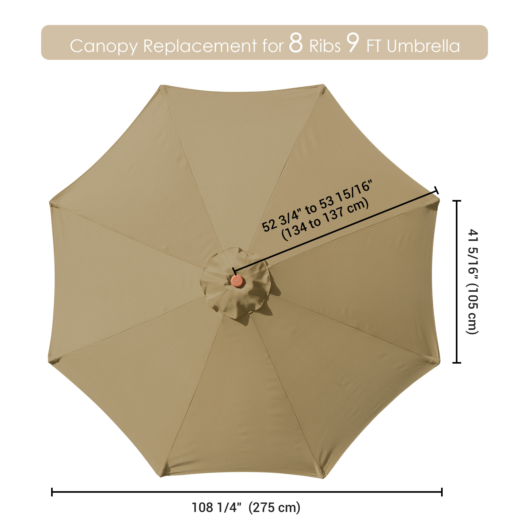 thumbnail 450 - 8'/9'/10'/13' Umbrella Replacement Canopy 8 Rib Outdoor Patio Top Cover Only Opt