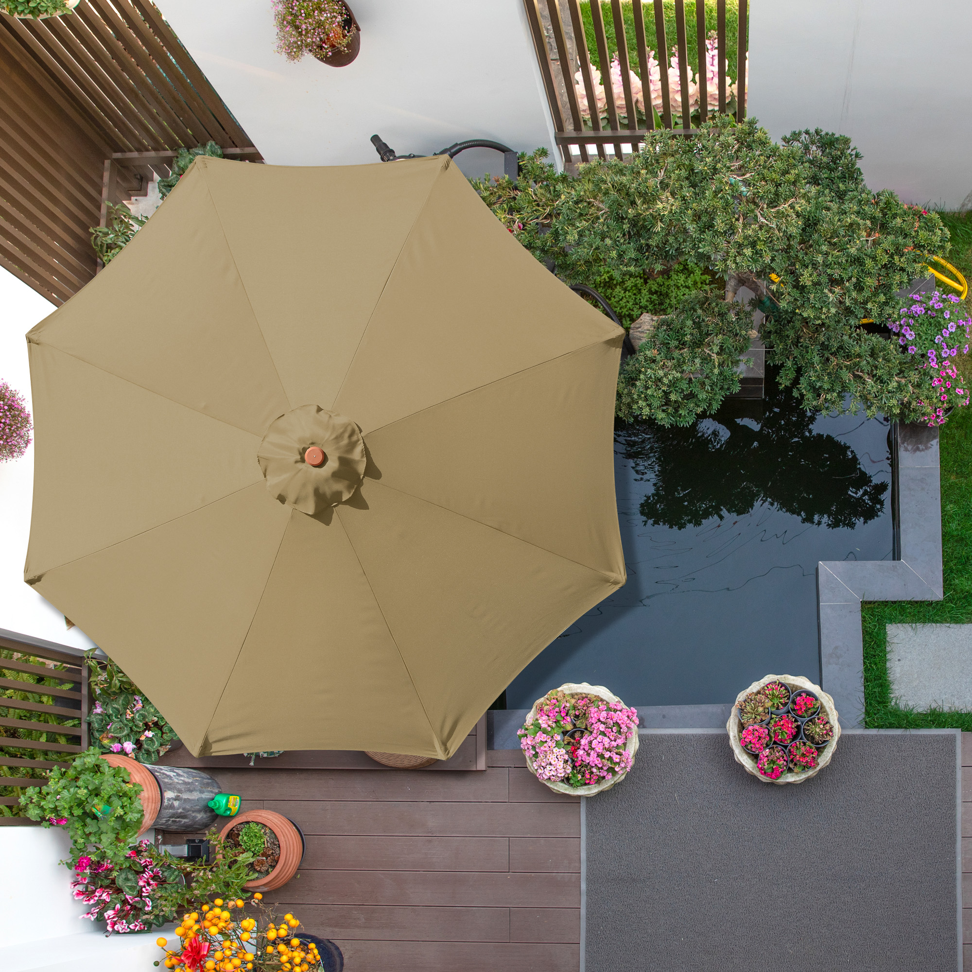 thumbnail 452 - 8'/9'/10'/13' Umbrella Replacement Canopy 8 Rib Outdoor Patio Top Cover Only Opt
