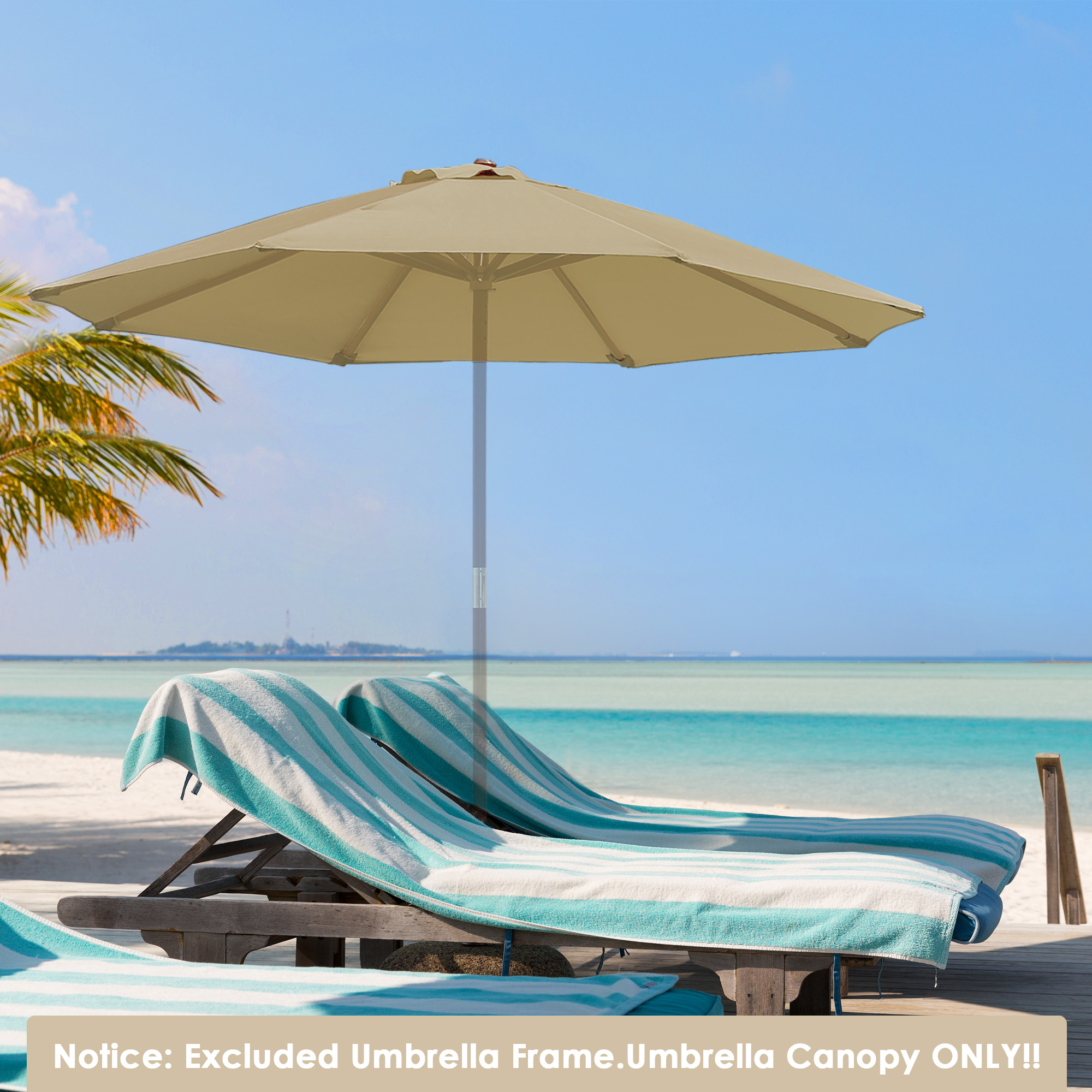 thumbnail 453 - 8'/9'/10'/13' Umbrella Replacement Canopy 8 Rib Outdoor Patio Top Cover Only Opt