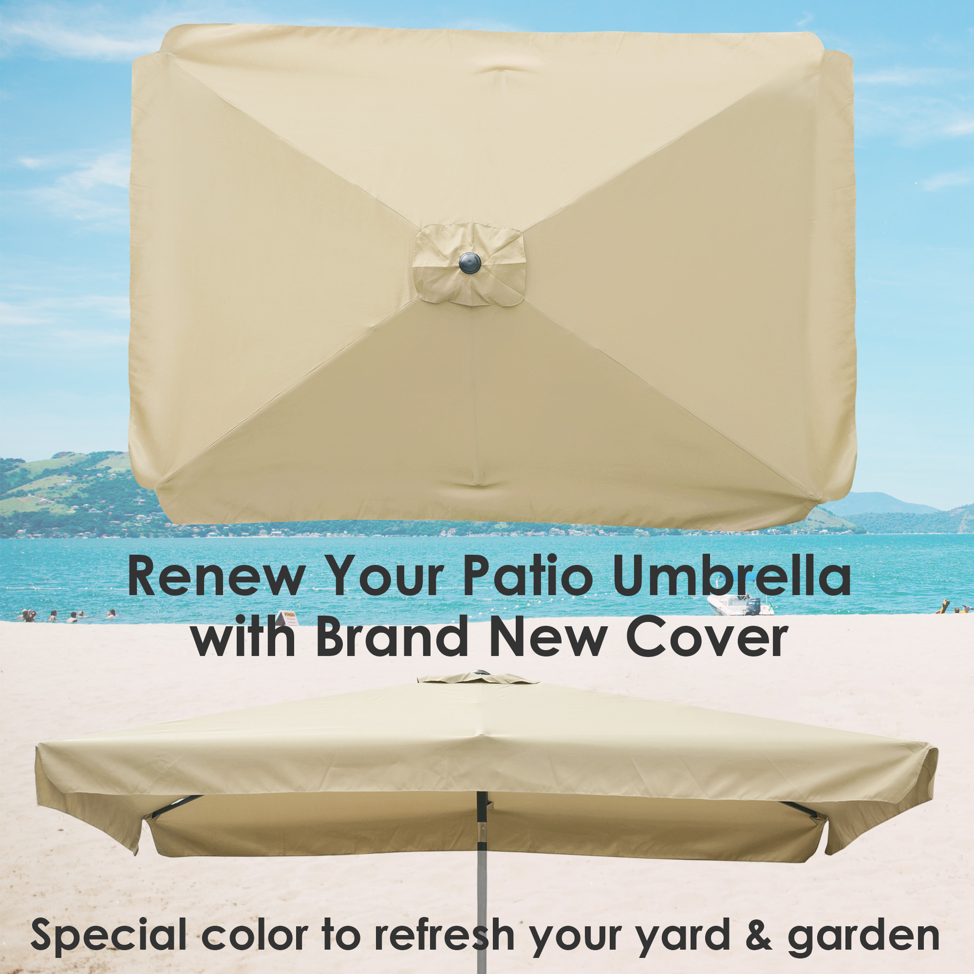 thumbnail 115 - 8'/9'/10'/13' Umbrella Replacement Canopy 8 Rib Outdoor Patio Top Cover Only Opt