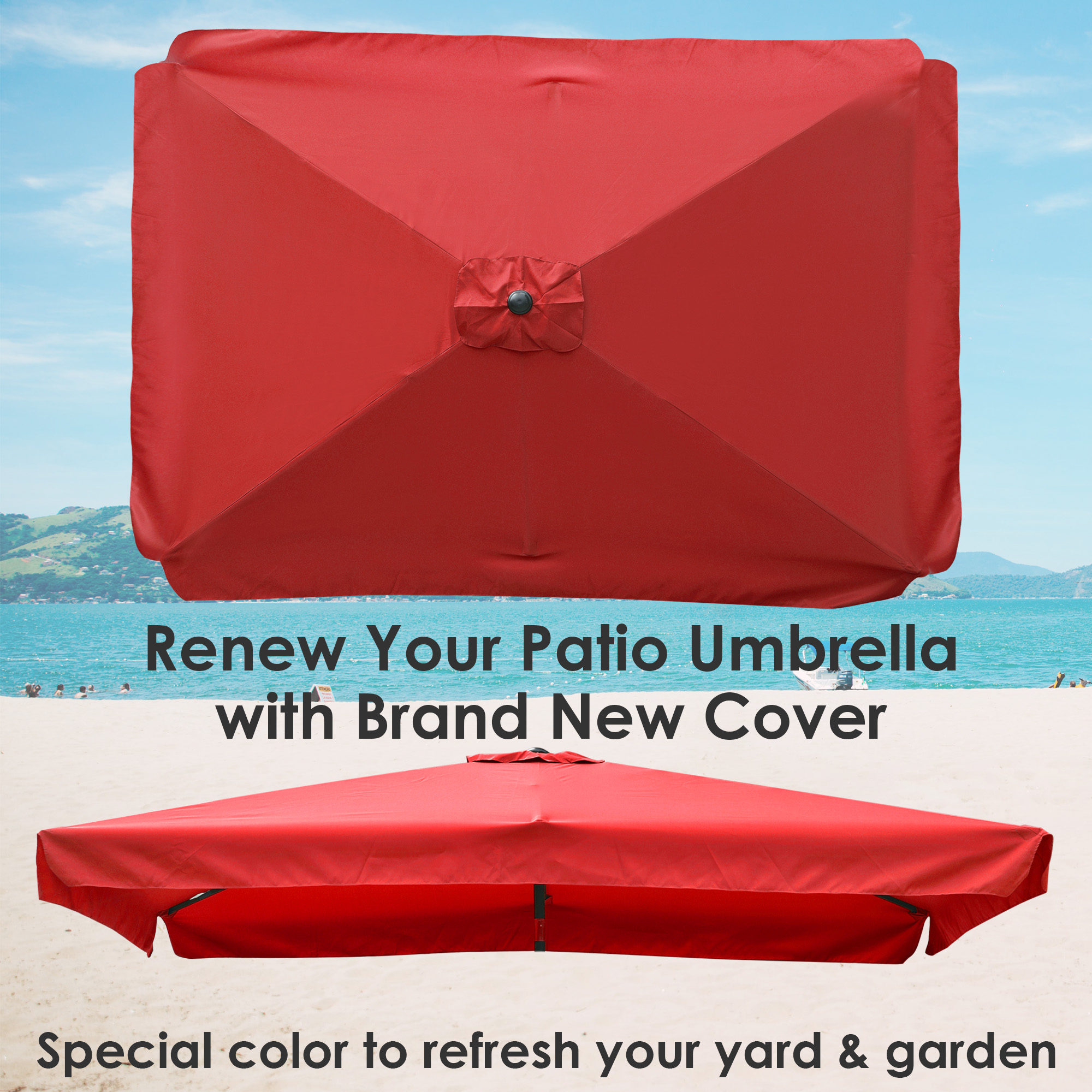 thumbnail 248 - 8'/9'/10'/13' Umbrella Replacement Canopy 8 Rib Outdoor Patio Top Cover Only Opt