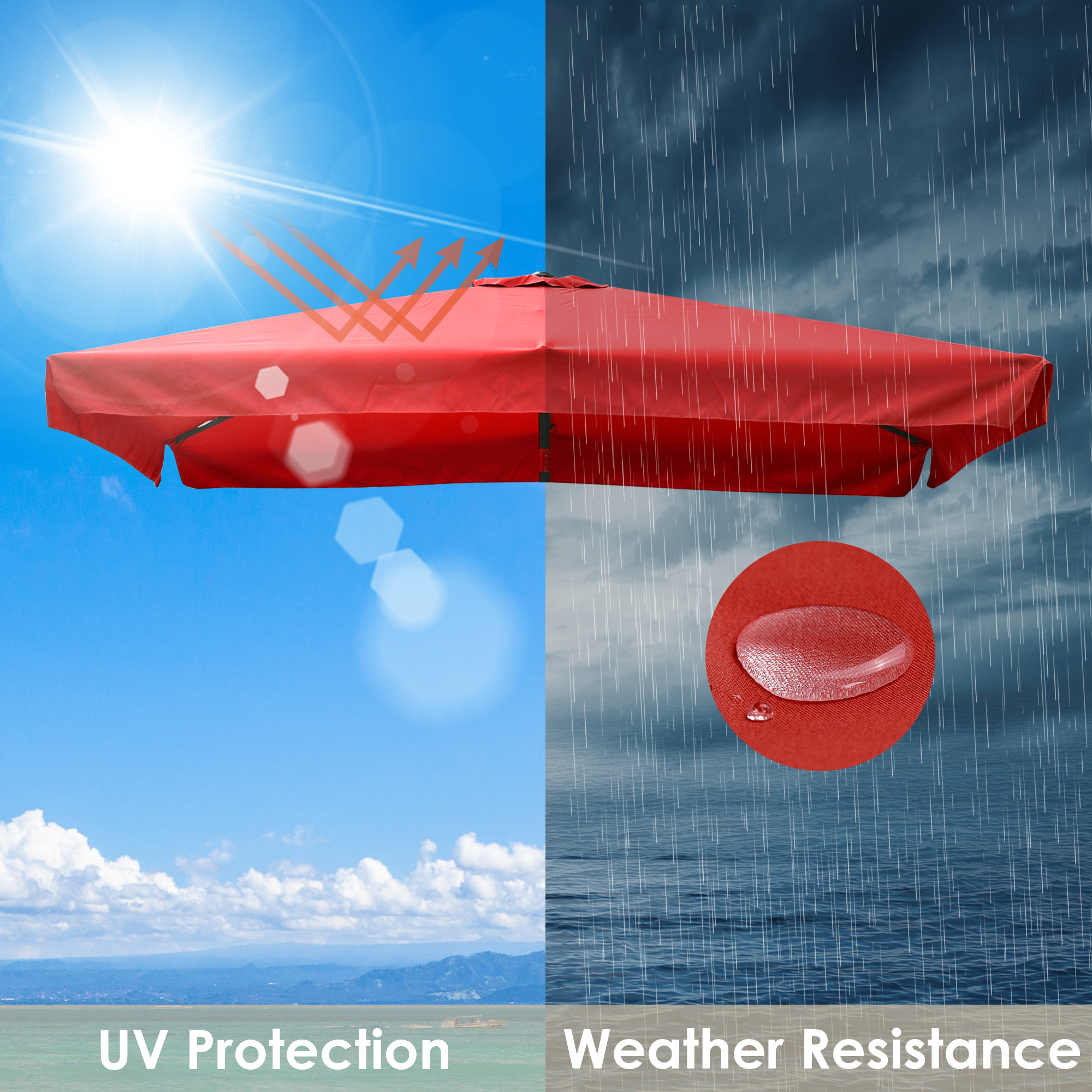 thumbnail 249 - 8'/9'/10'/13' Umbrella Replacement Canopy 8 Rib Outdoor Patio Top Cover Only Opt