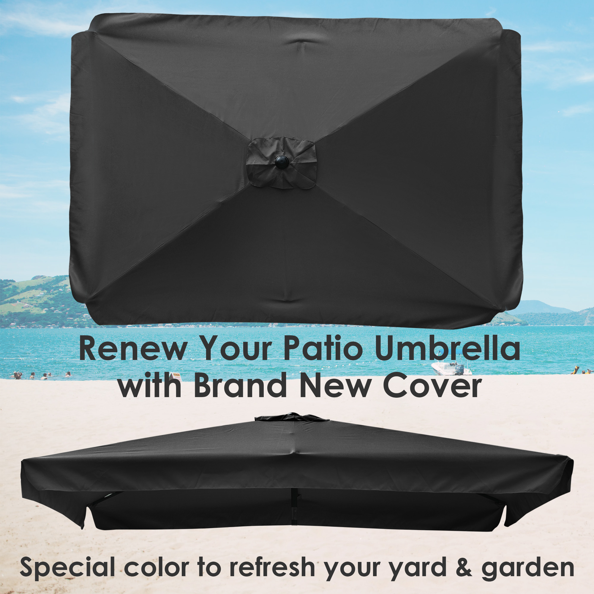thumbnail 127 - 8'/9'/10'/13' Umbrella Replacement Canopy 8 Rib Outdoor Patio Top Cover Only Opt