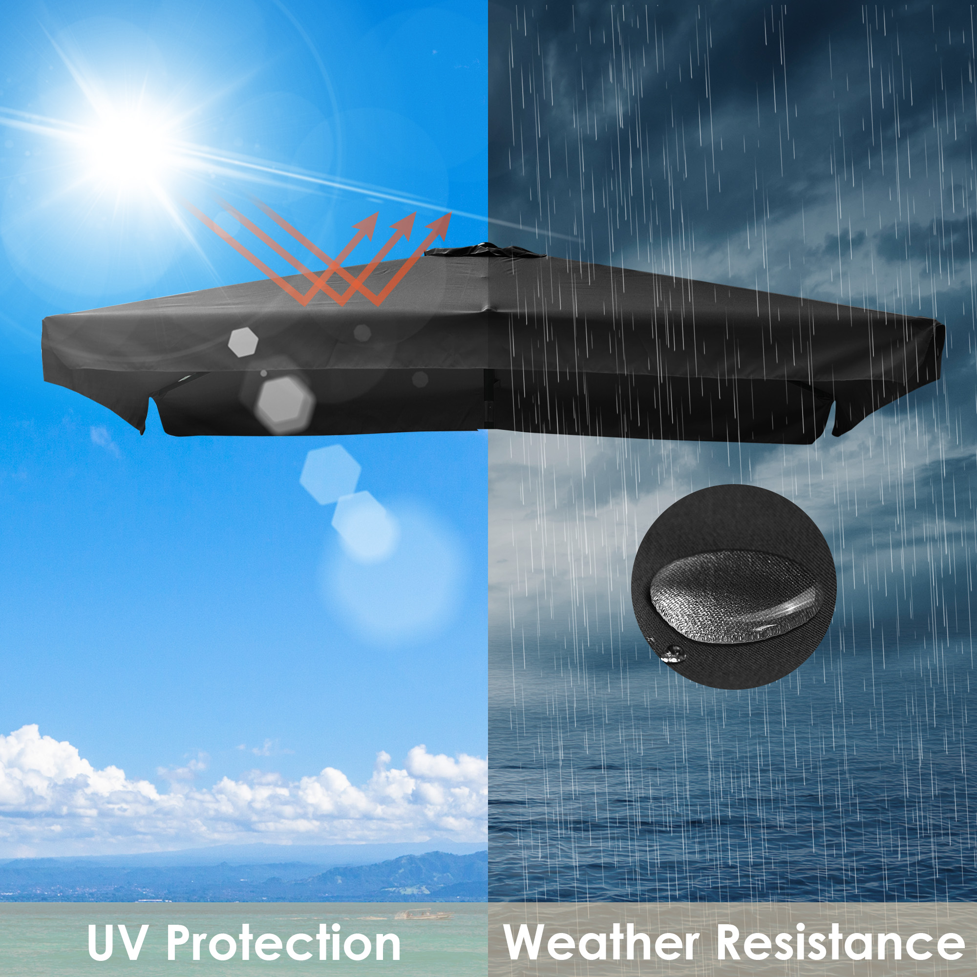 thumbnail 128 - 8'/9'/10'/13' Umbrella Replacement Canopy 8 Rib Outdoor Patio Top Cover Only Opt