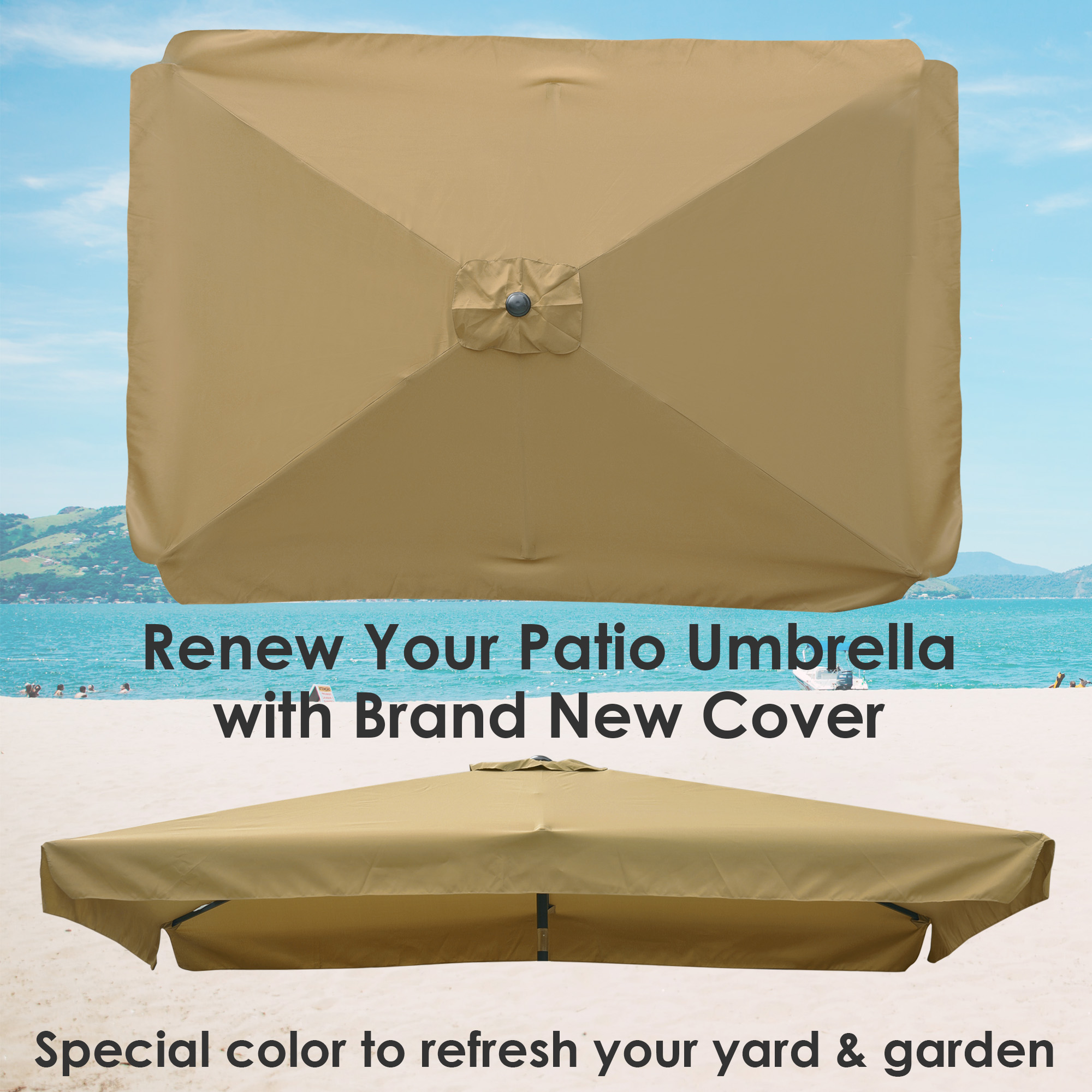 thumbnail 171 - 8'/9'/10'/13' Umbrella Replacement Canopy 8 Rib Outdoor Patio Top Cover Only Opt