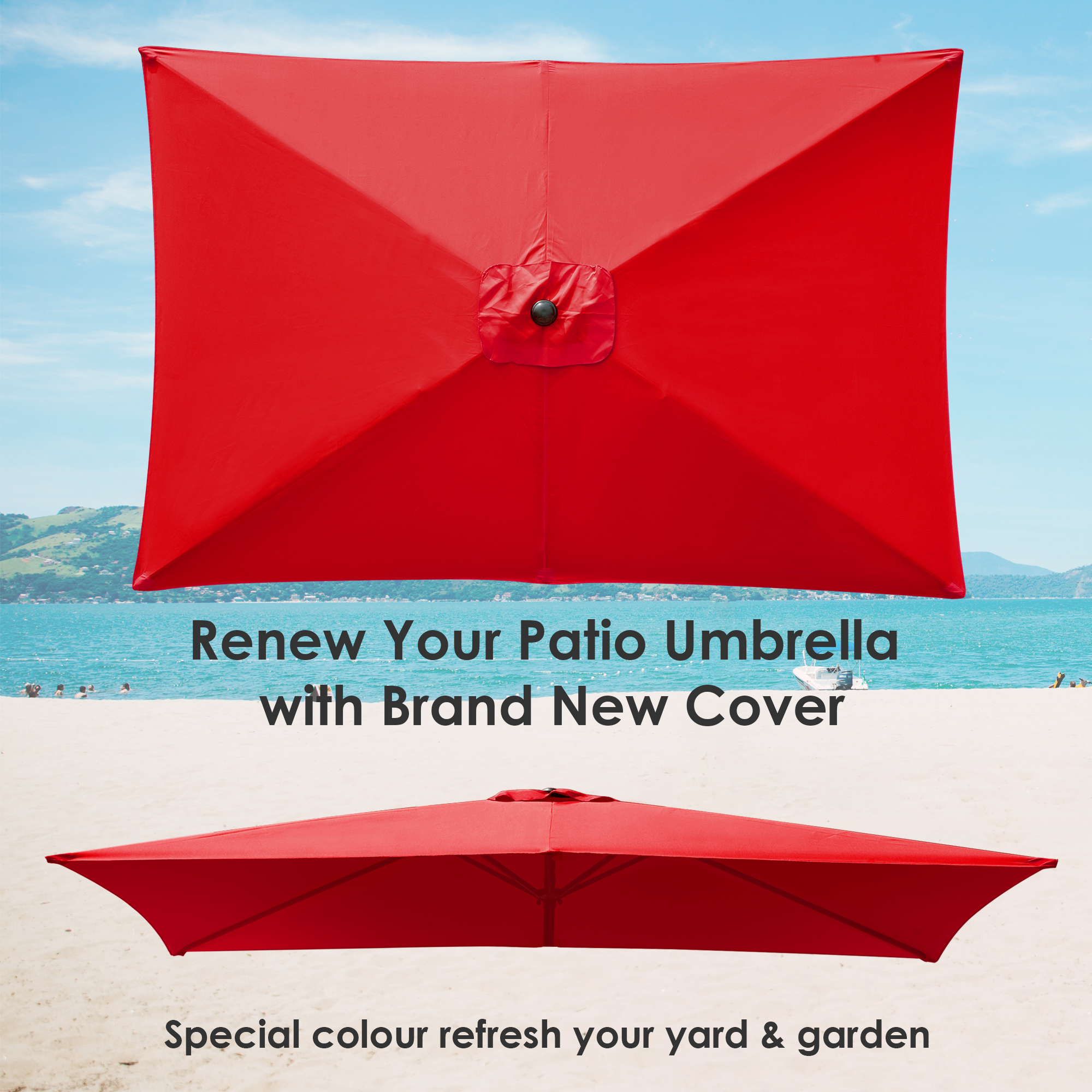 thumbnail 260 - 8'/9'/10'/13' Umbrella Replacement Canopy 8 Rib Outdoor Patio Top Cover Only Opt